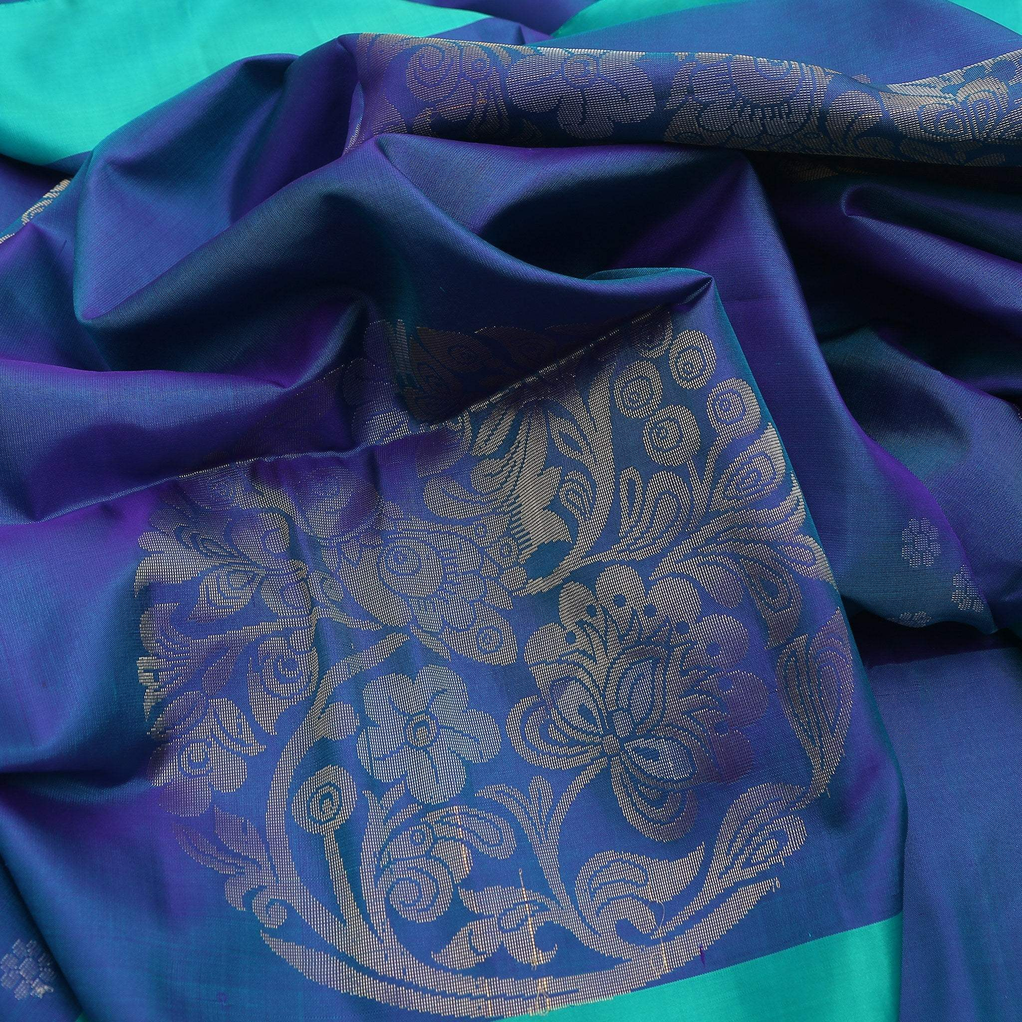 BB102596-Cobalt Blue Soft Silk saree with contrast Turquoise border and pallu.