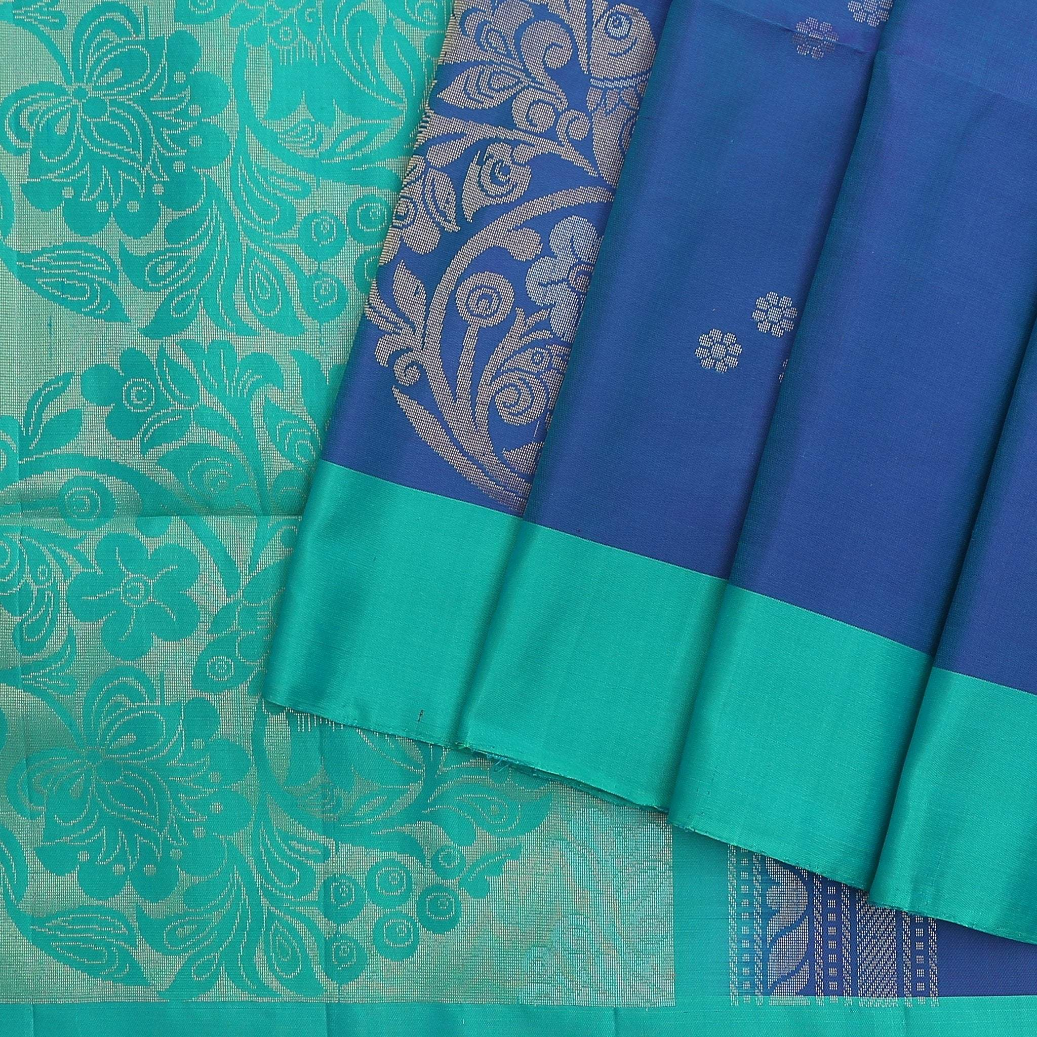 Cobalt-Blue-Soft-Silk-saree-with-contrast-Turquoise-border-and-pallu.