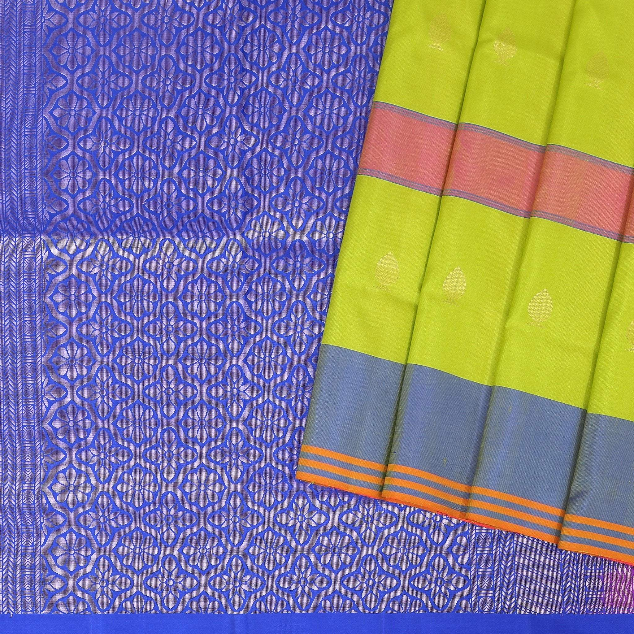 Lime-Green-checkered-Soft-Silk-Saree-with-electric-blue-pallu.