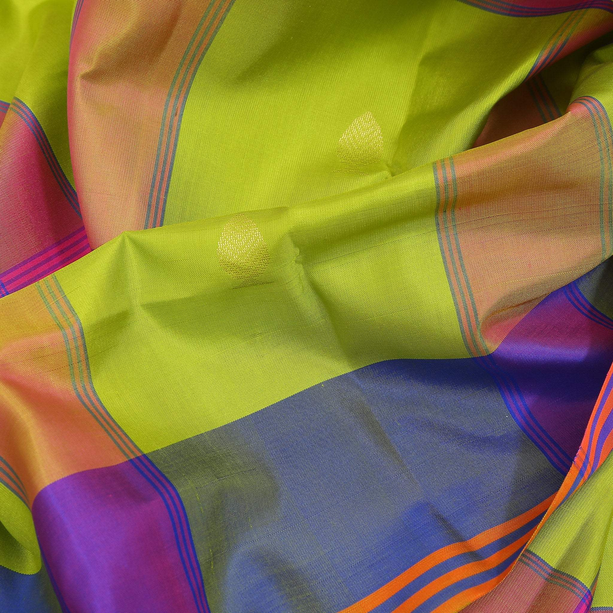 BB102600-Lime Green checkered Soft Silk Saree with electric blue pallu.