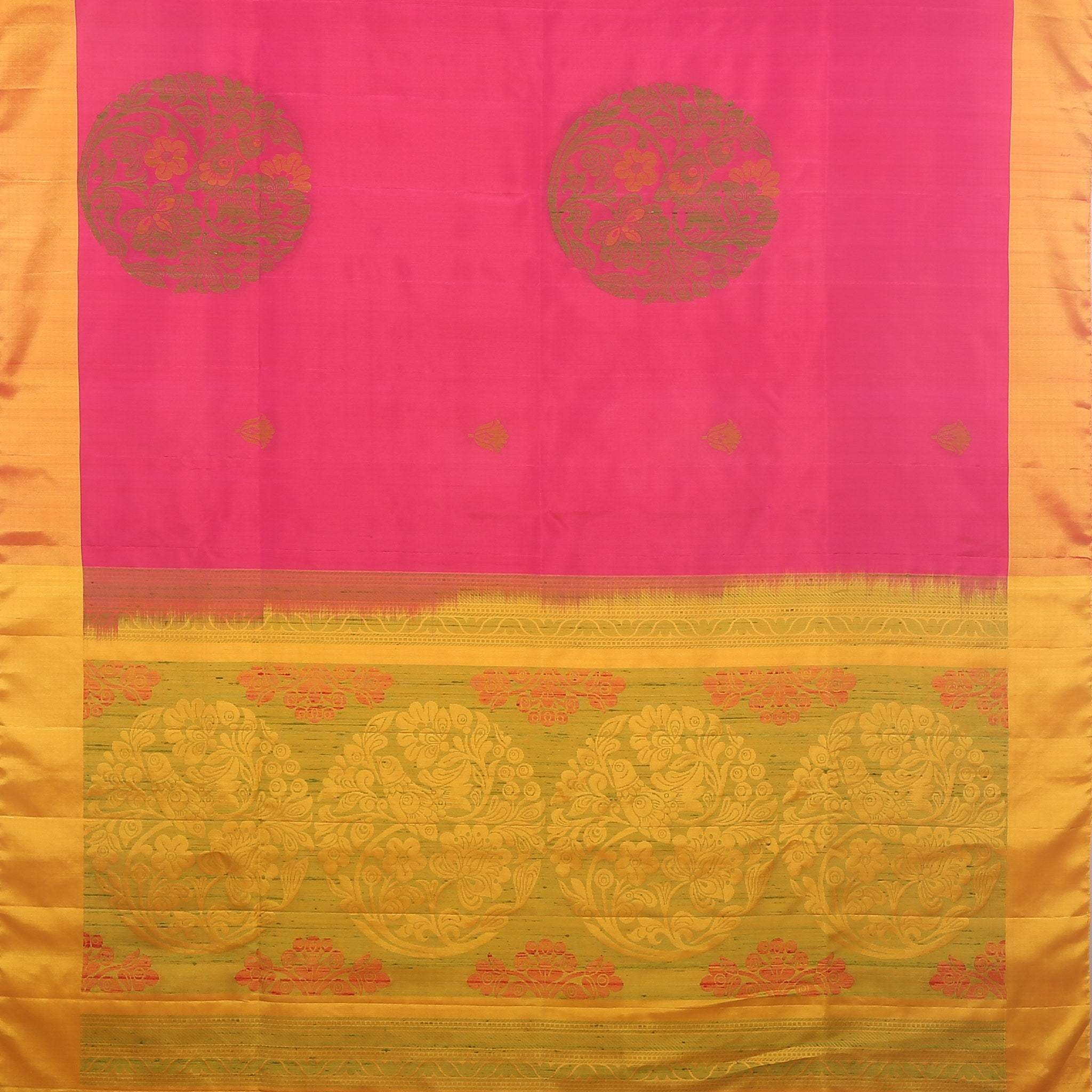 BB102602-Rani Pink Soft Silk Saree with contrast Yellow border and pallu.