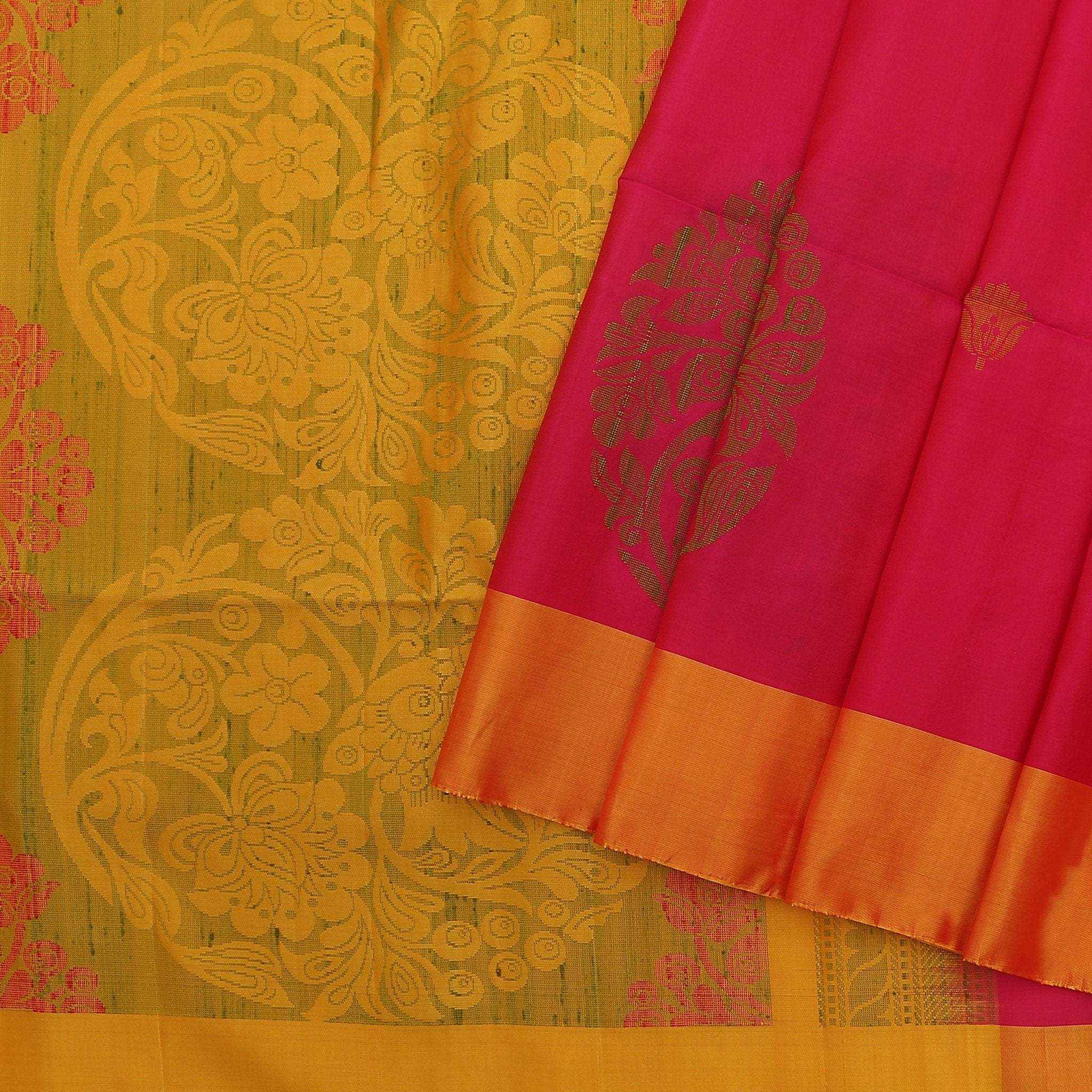 Rani-Pink-Soft-Silk-Saree-with-contrast-Yellow-border-and-pallu.