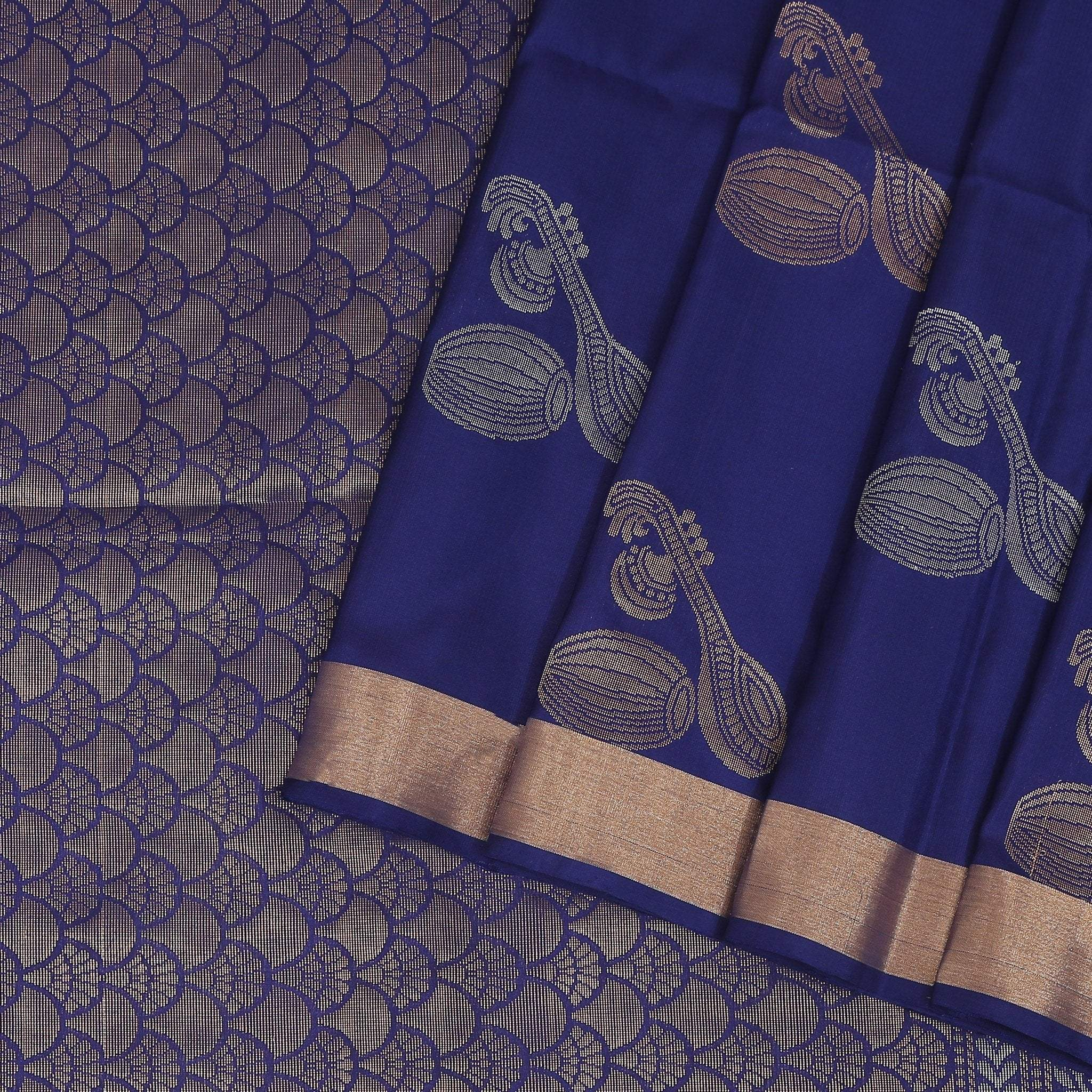 Prusian-Blue-Soft-Silk-Saree-with-zari-woven-sitar-and-tabla.