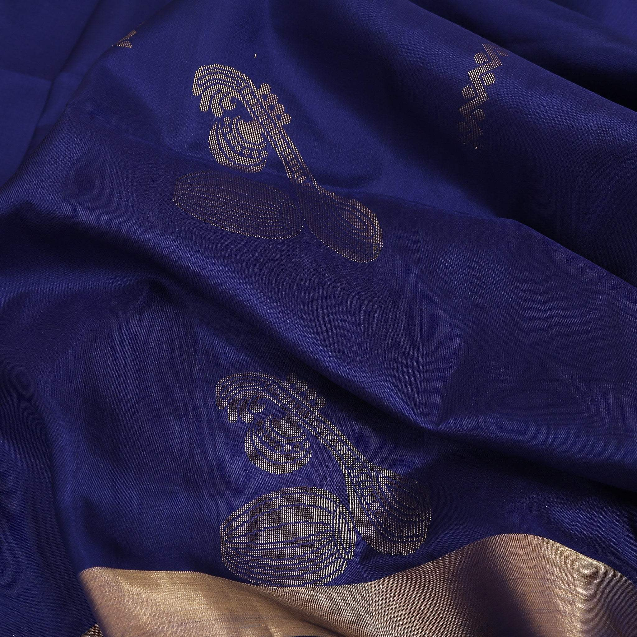 BB102605-Prusian Blue Soft Silk Saree with zari woven sitar and tabla.