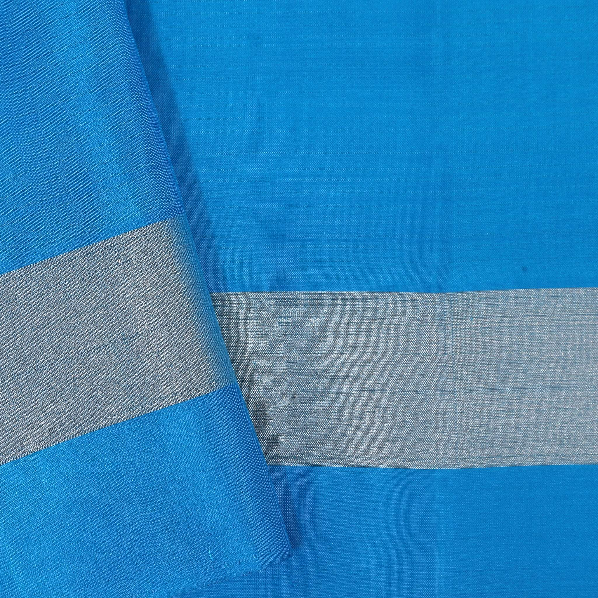 BB102606-Parakeet Green Soft Silk Saree with contrast Electric Blue border and pallu.