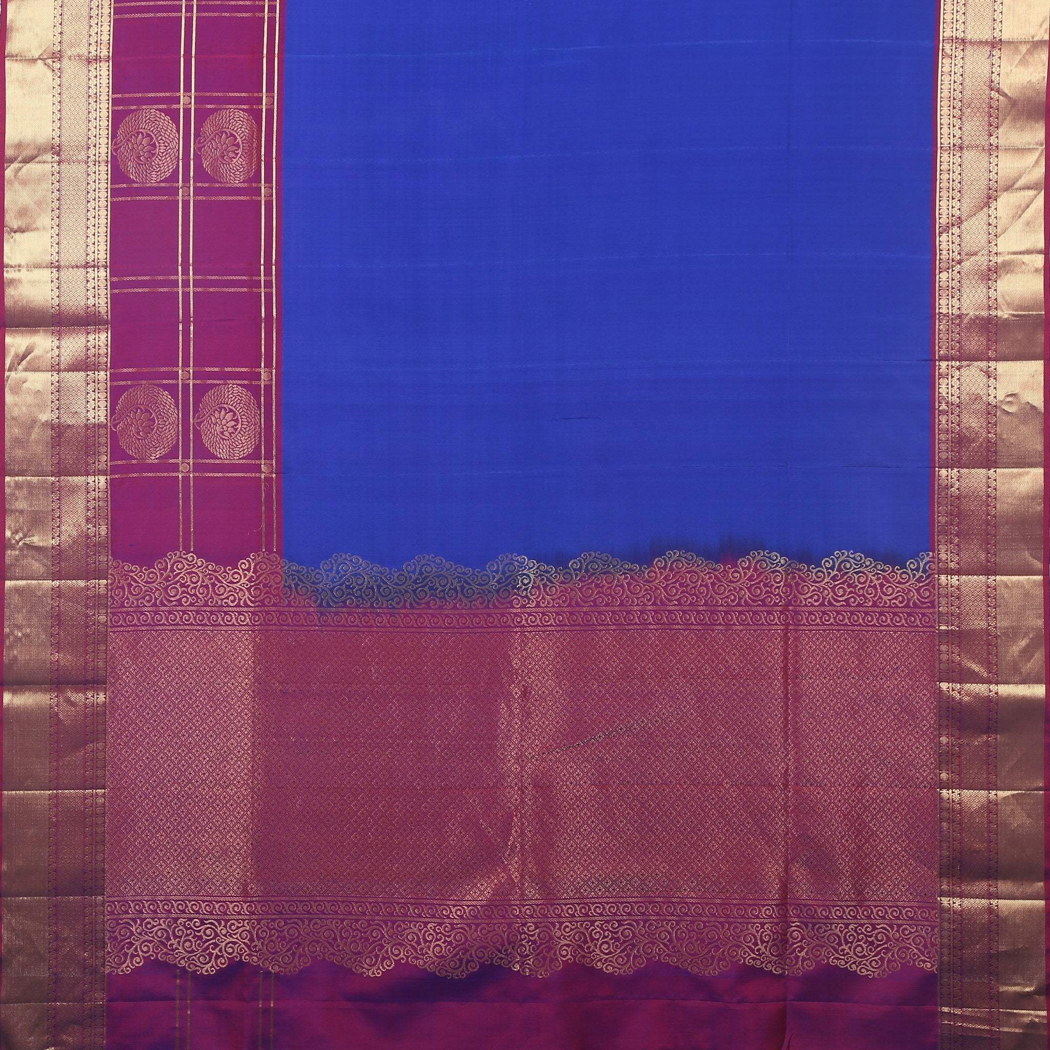 BB102608-Egyptian Blue Soft Silk Saree with contrast Rani Pink border and pallu .