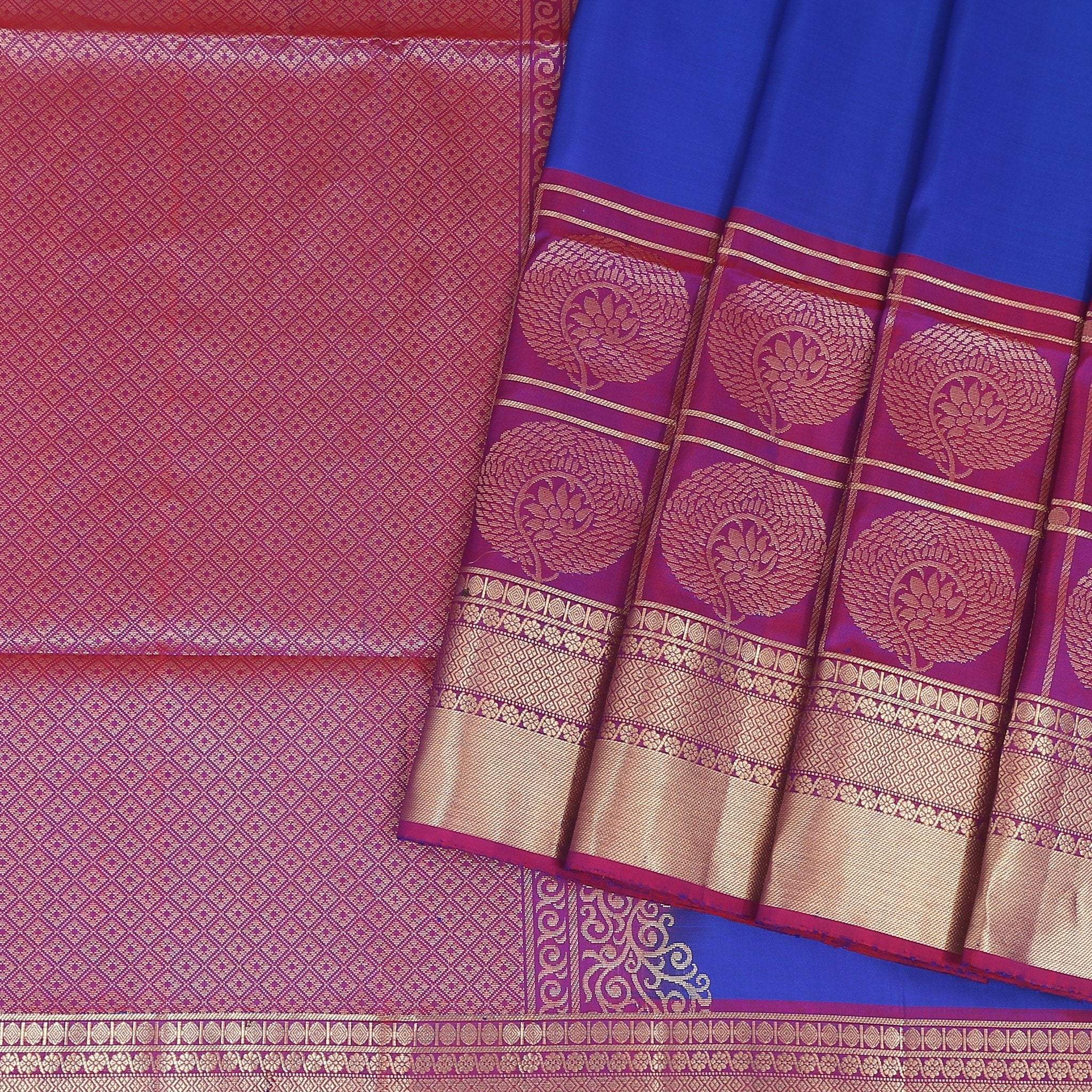 Egyptian-Blue-Soft-Silk-Saree-with-contrast-Rani-Pink-border-and-pallu .