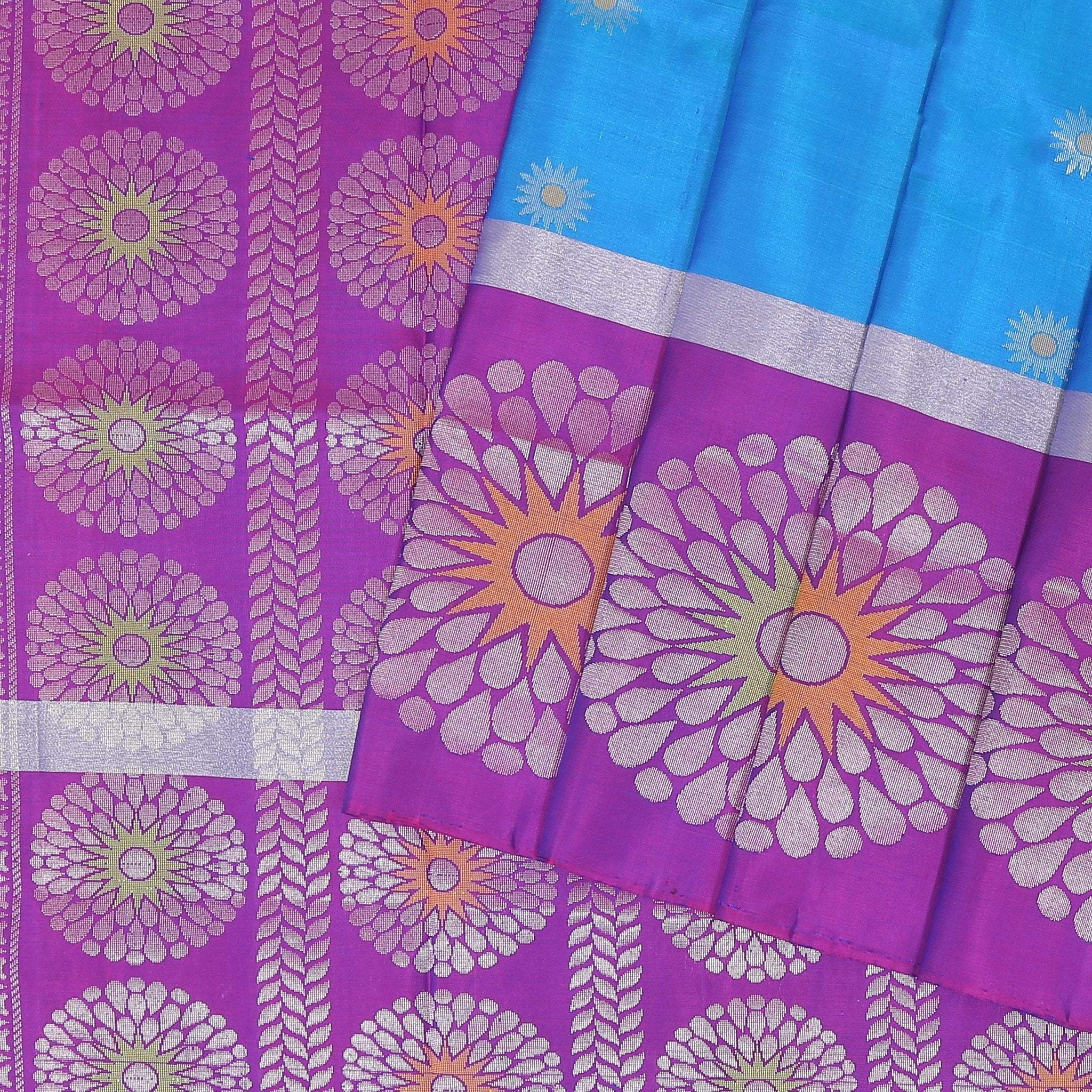 buy Azzure Blue Soft Silk Saree with contrast purple border Online