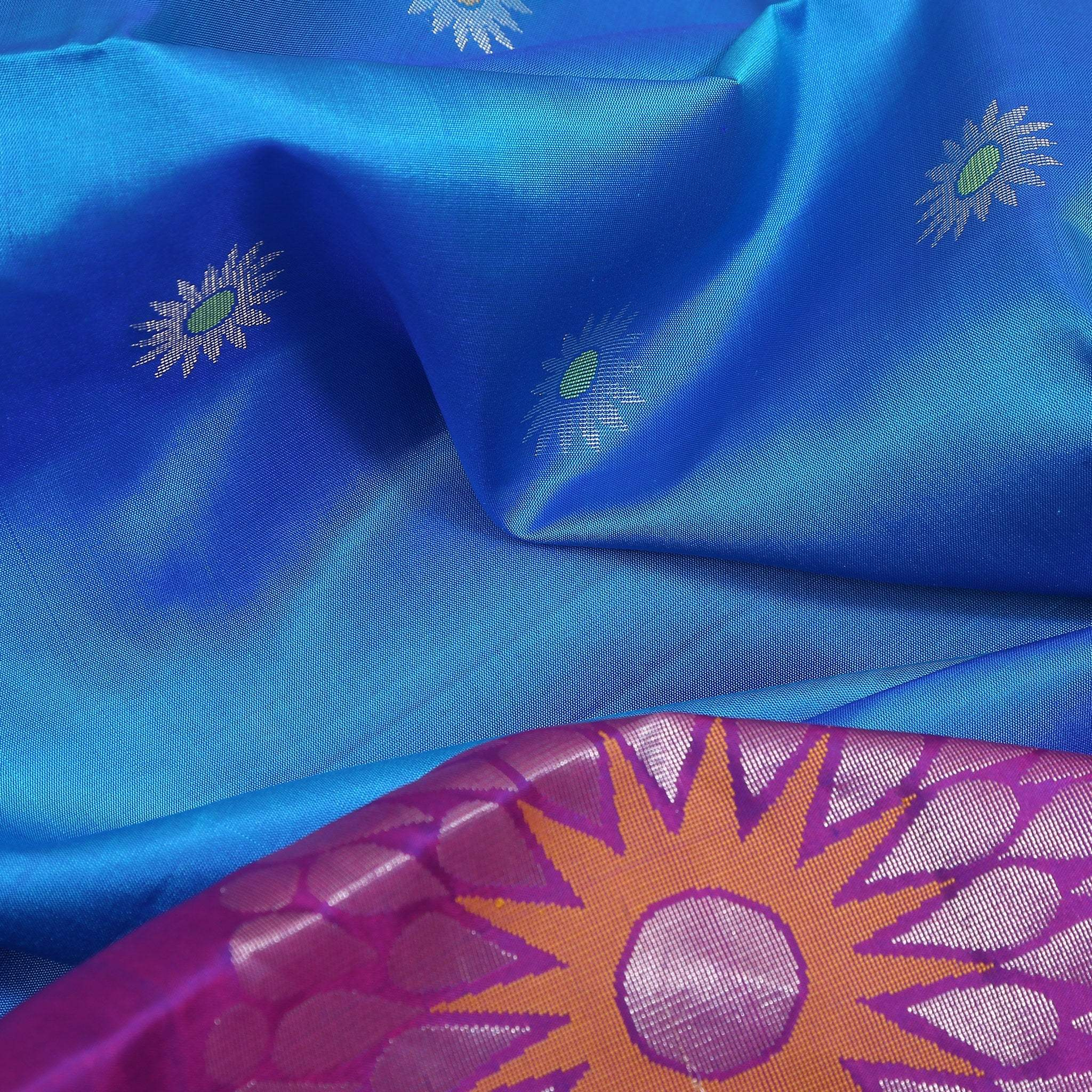 BB102612-Azzure Blue Soft Silk Saree with contrast purple border and pallu.