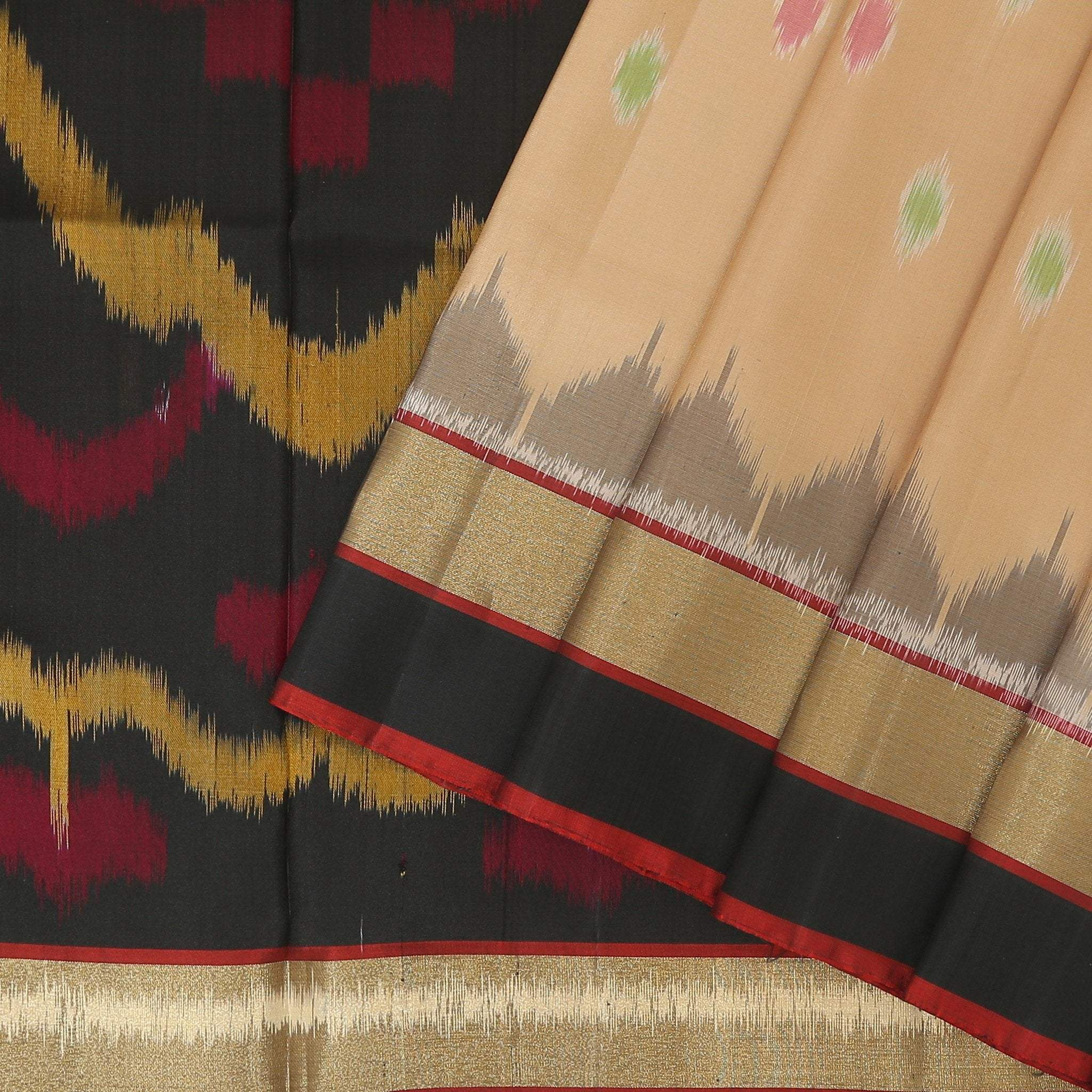 buy Beige Soft Silk Saree with contrast black ikkat pallu