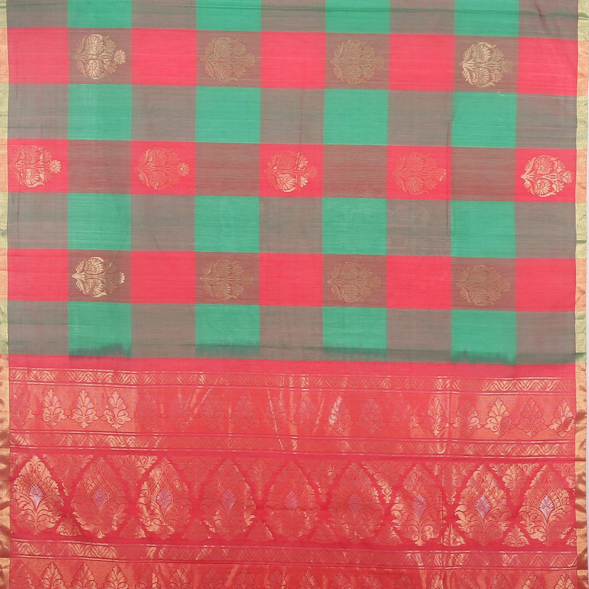 BB102622-Chilli Green and Crimson checkered Cotton Saree
