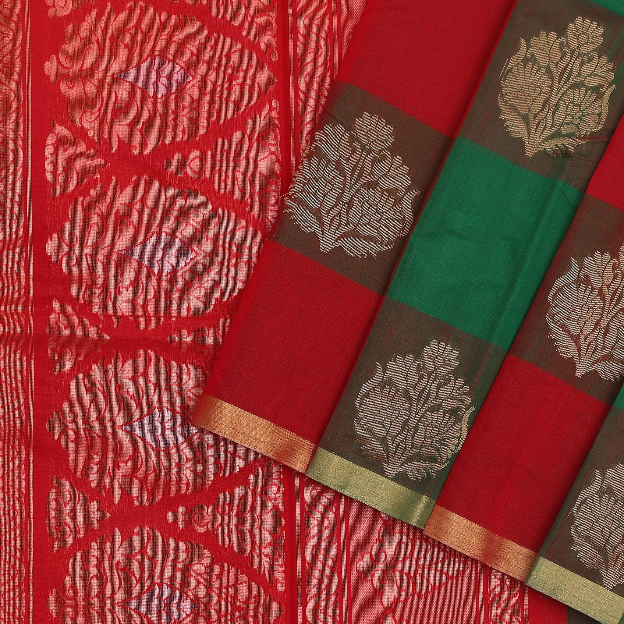 buy Chilli Green and Crimson checkered Cotton Saree Online
