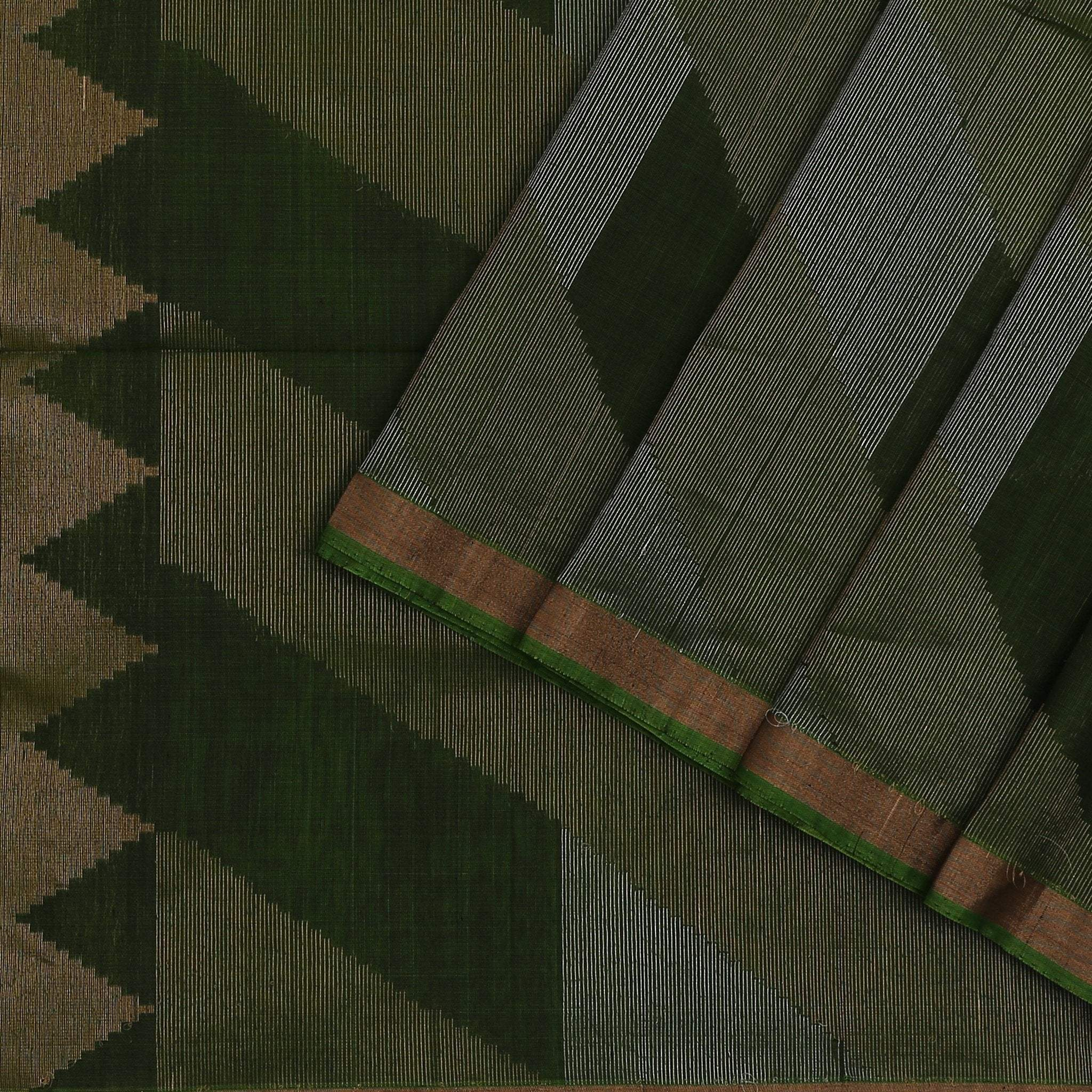 buy Juniper Green Cotton Saree with zari stripes Online