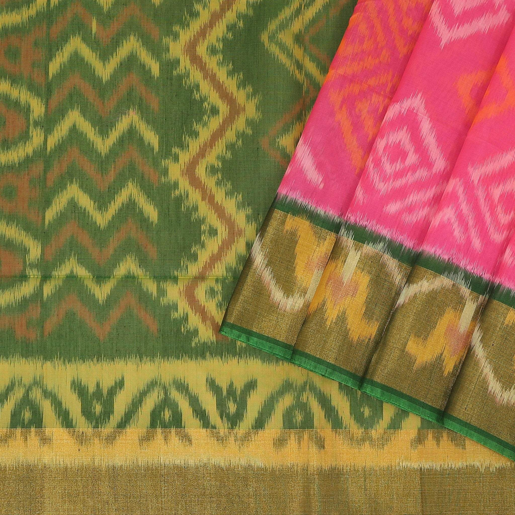 Vivid-Pink-Cotton-Ikkat-Saree.