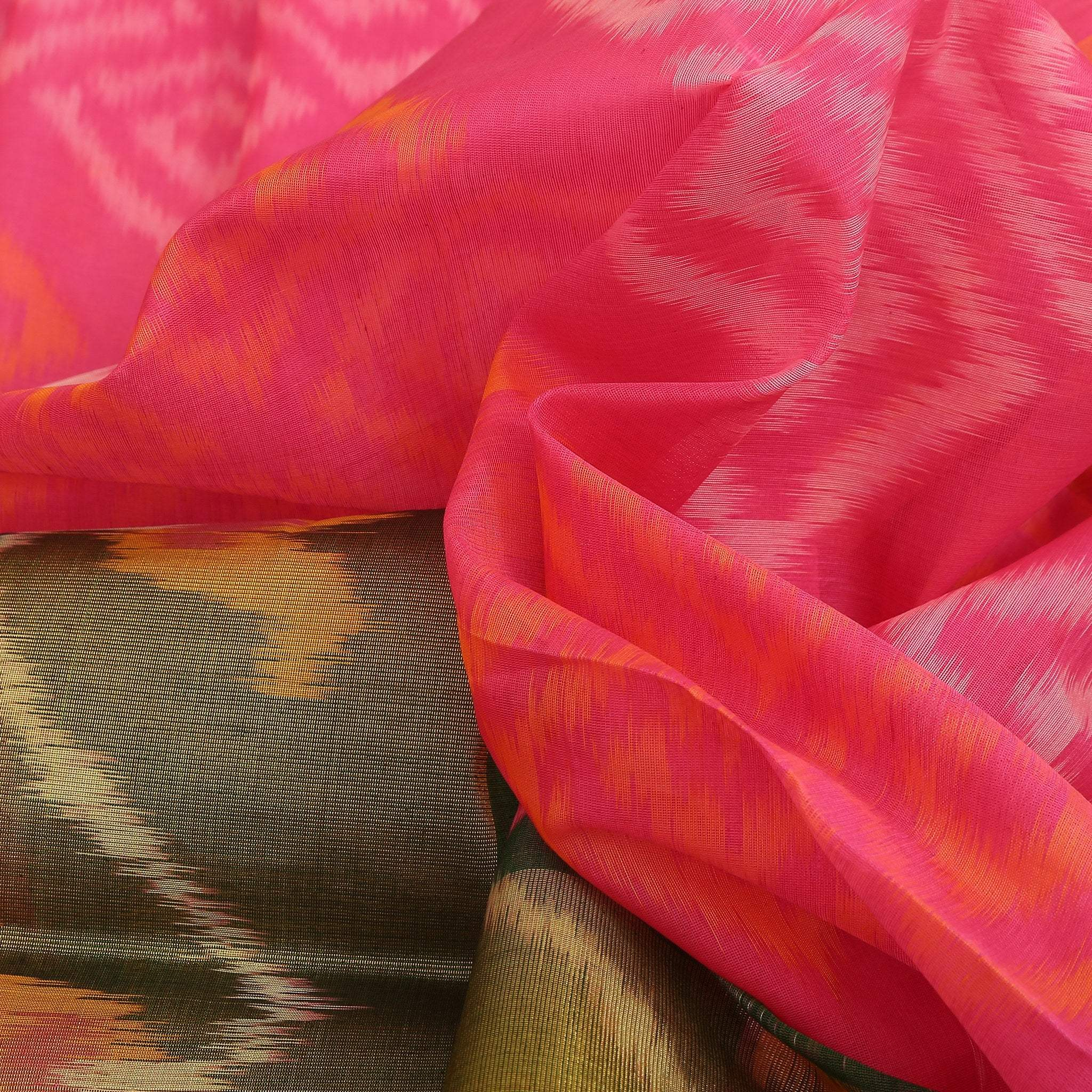 BB102635-Vivid Pink Cotton Ikkat Saree