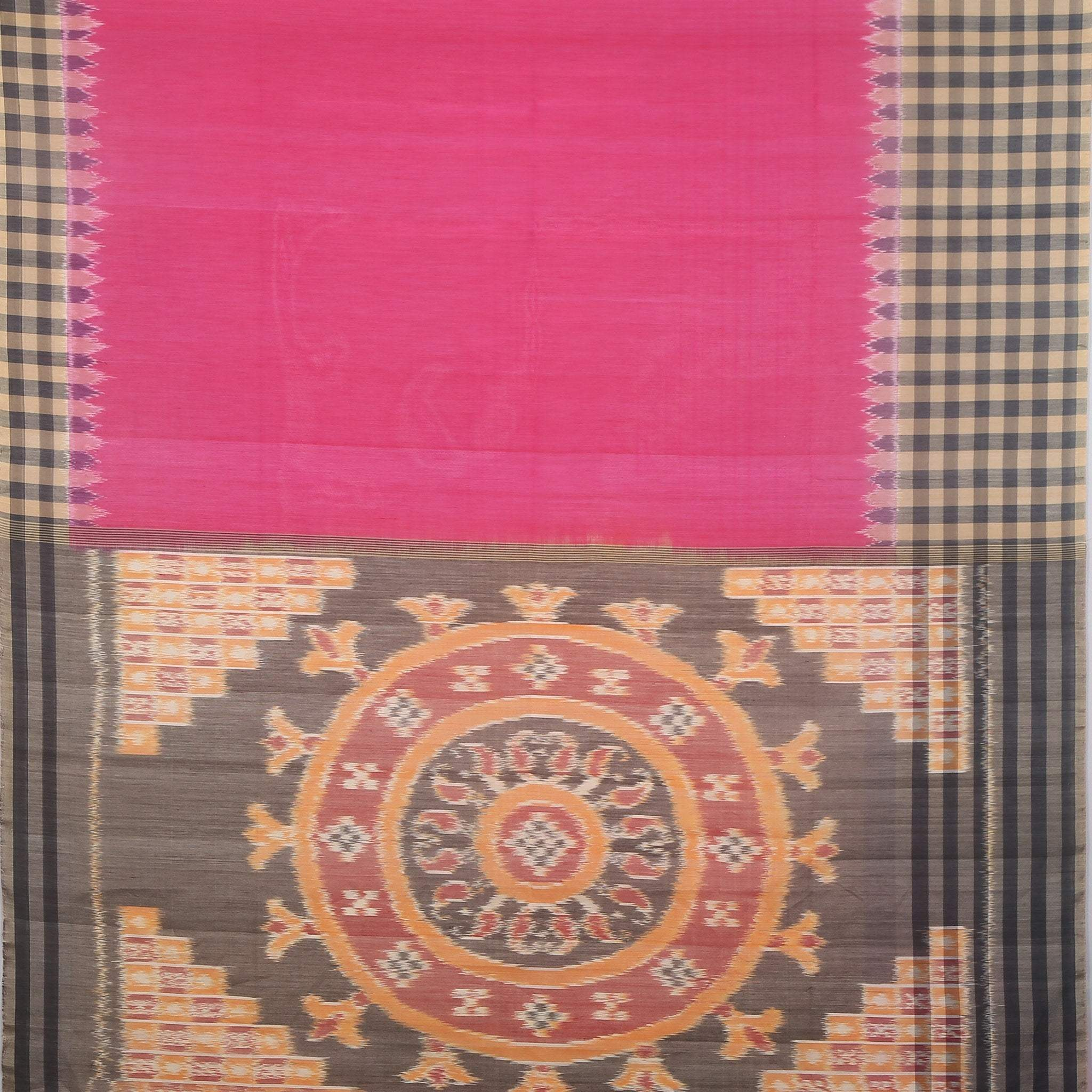BB102637-Magenta Pink Cotton Ikkat Saree with checkered border