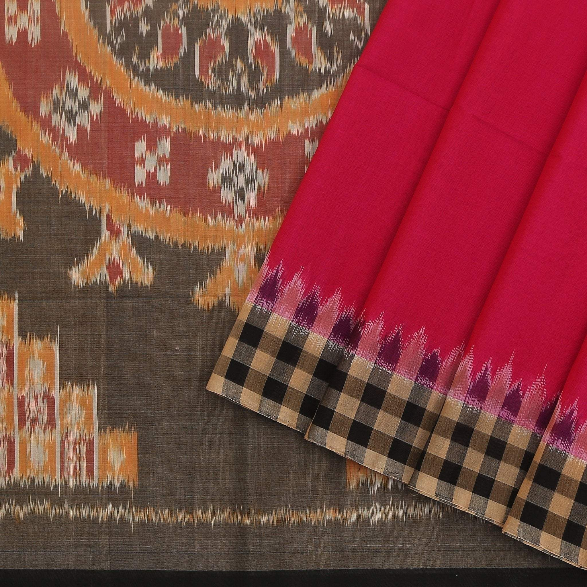 Magenta-Pink-Cotton-Ikkat-Saree-with-checkered-border.