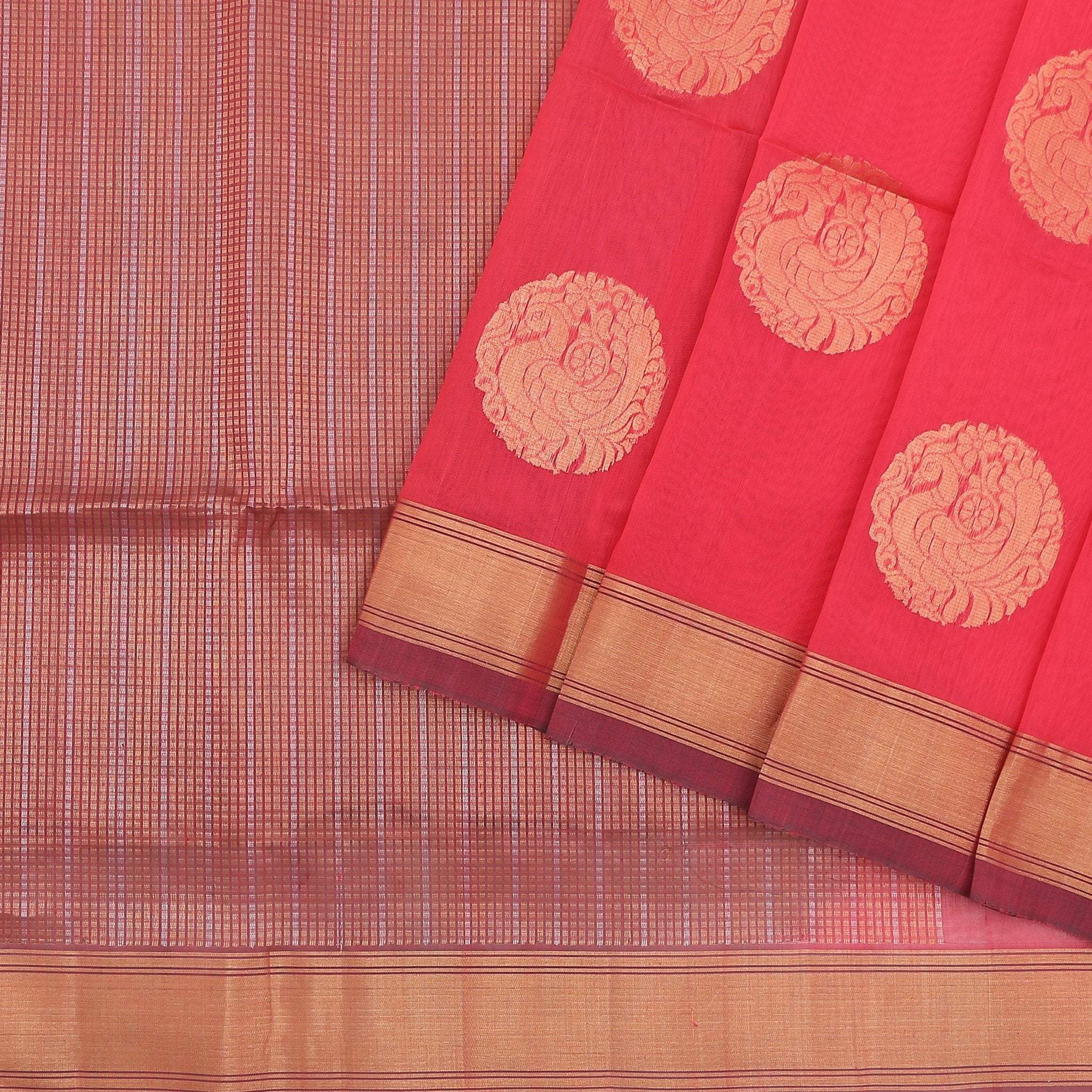 buy Hot Pink Cotton Saree with gold zari buttas Online