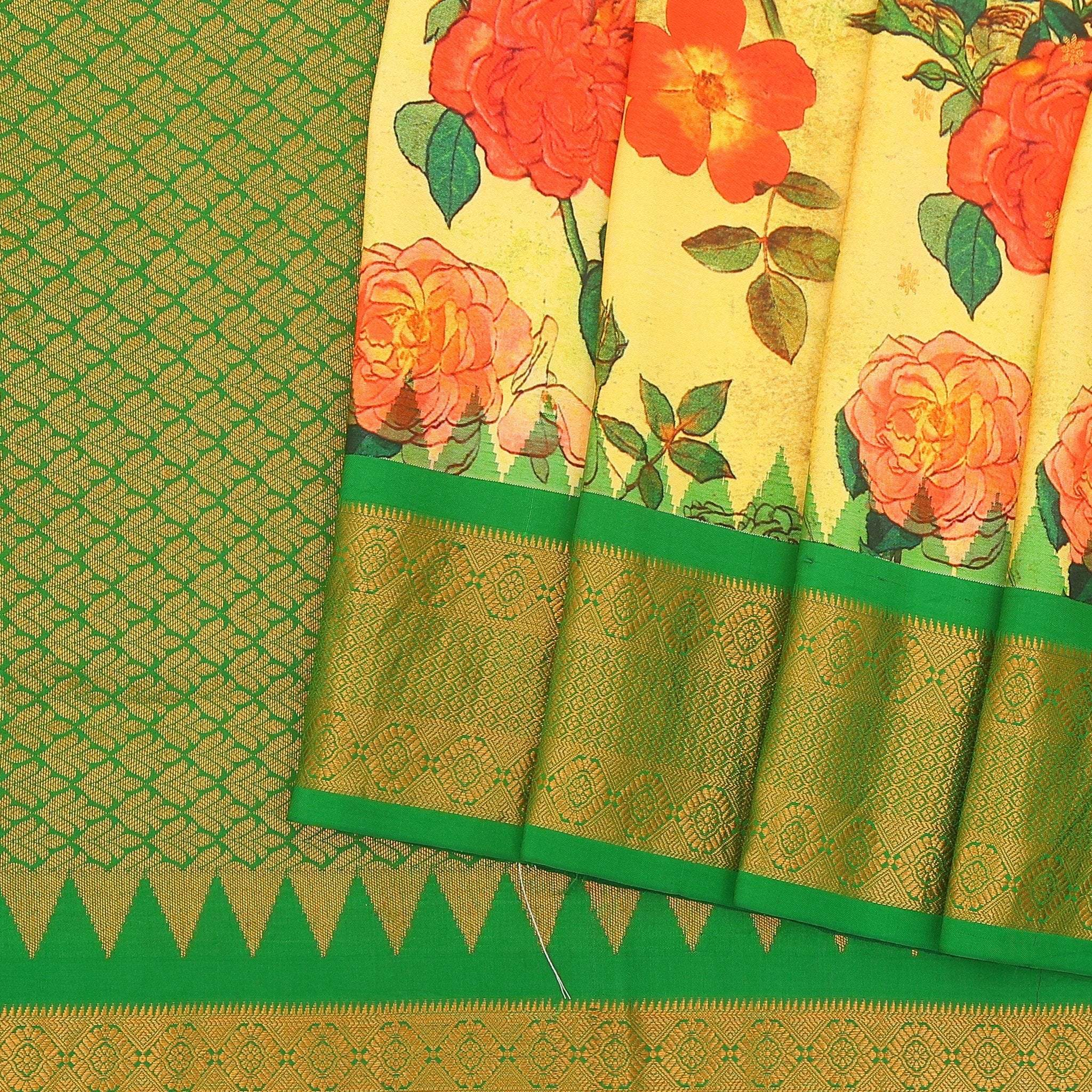 Lemon-Yellow-bold-Floral-Printed-Kanjivaram-Handloom-Silk-Saree