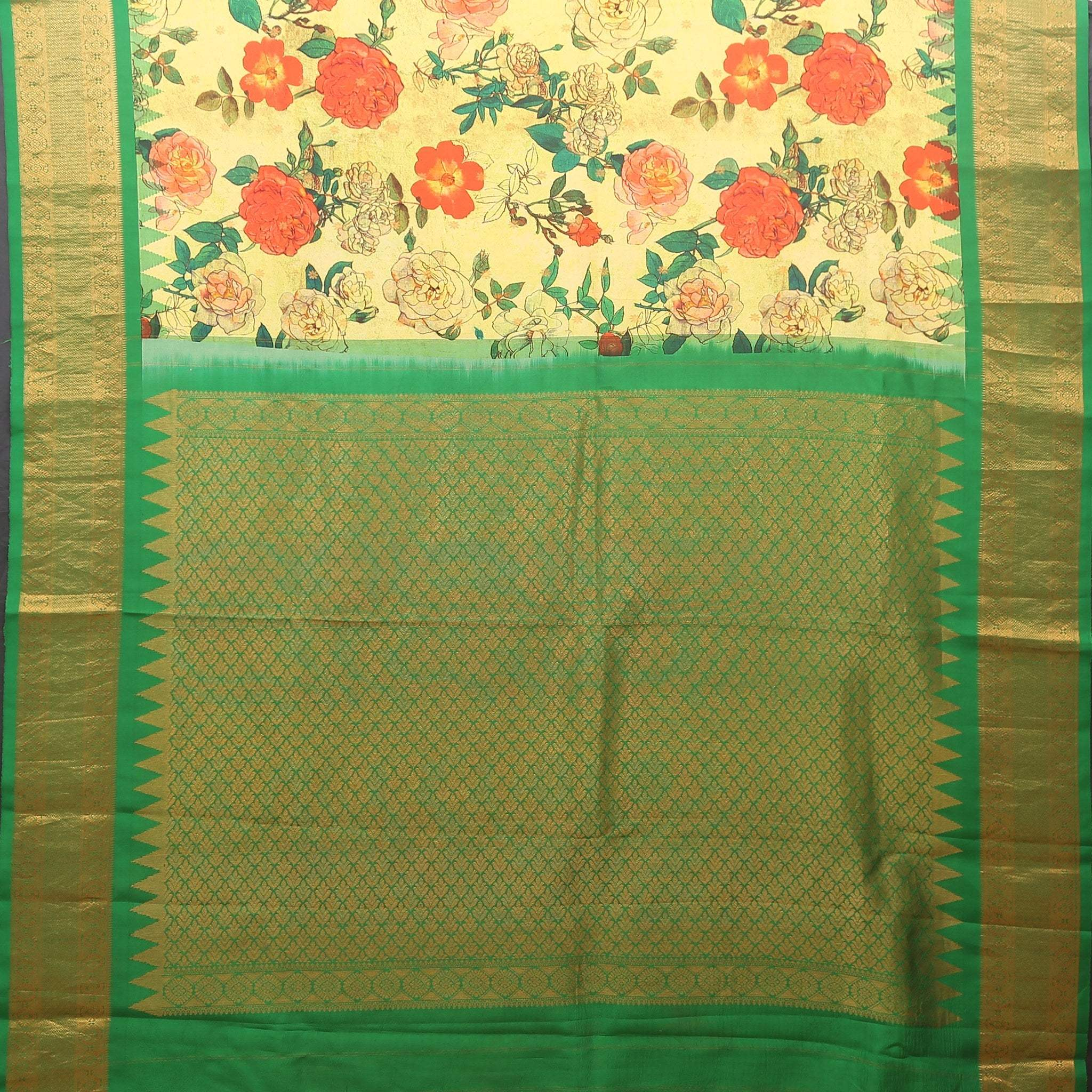 BB103175-Lemon Yellow bold Floral Printed Kanjivaram Handloom Silk Saree.