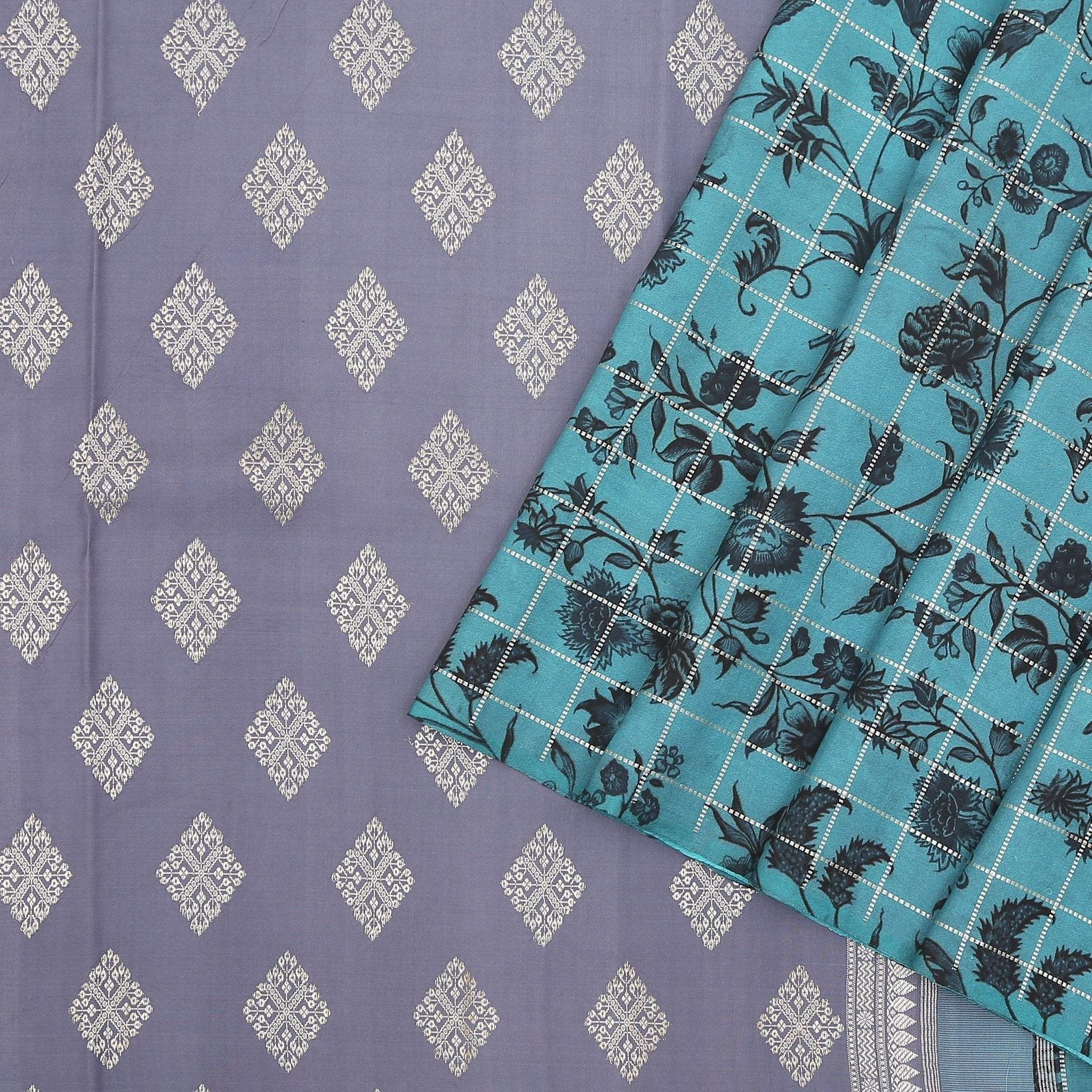 Teal-Blue-checkered-Printed-Kanjivaram-SilK-Handloom-Saree