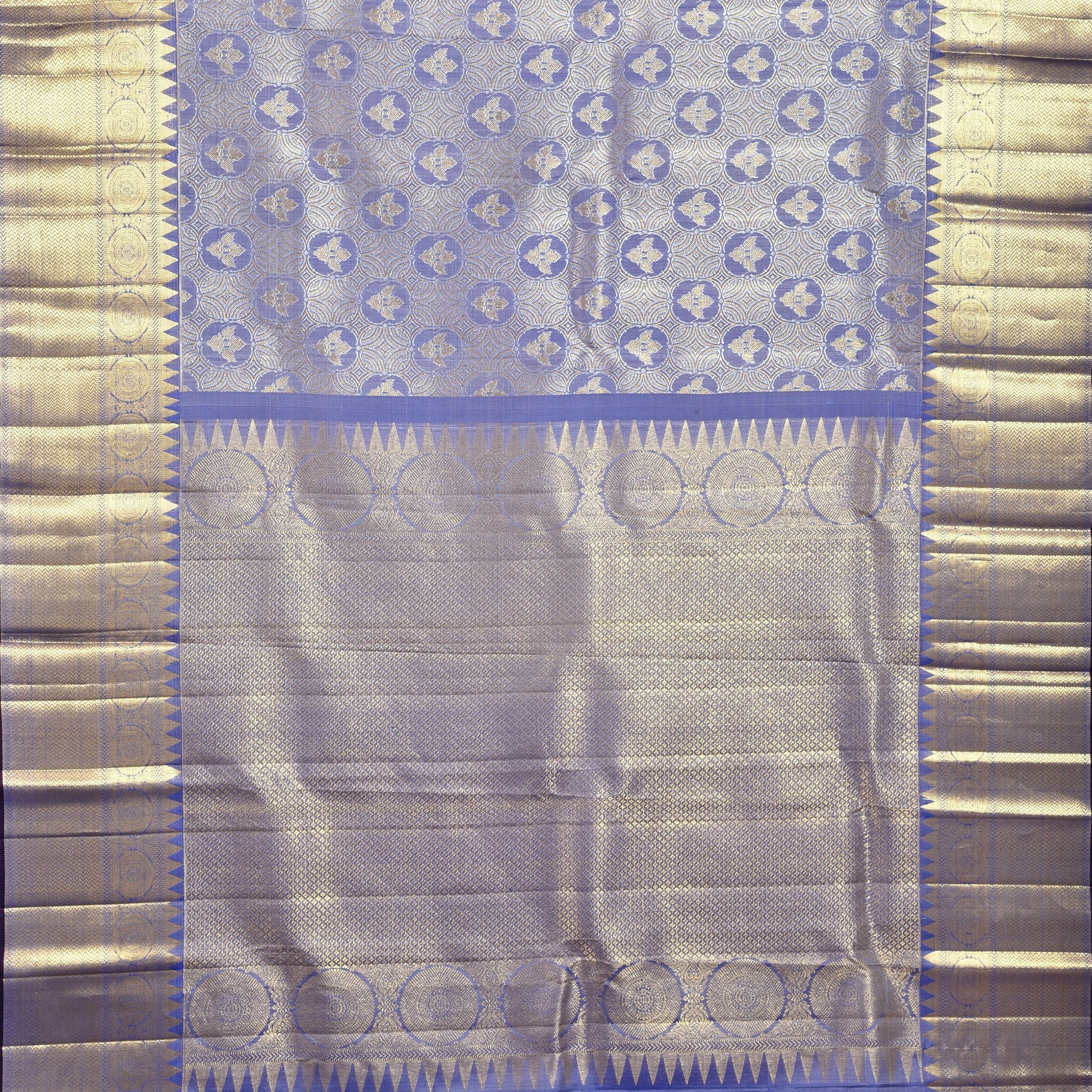 BB103261-Powder Purple Handloom Silk Kanjivaram Saree