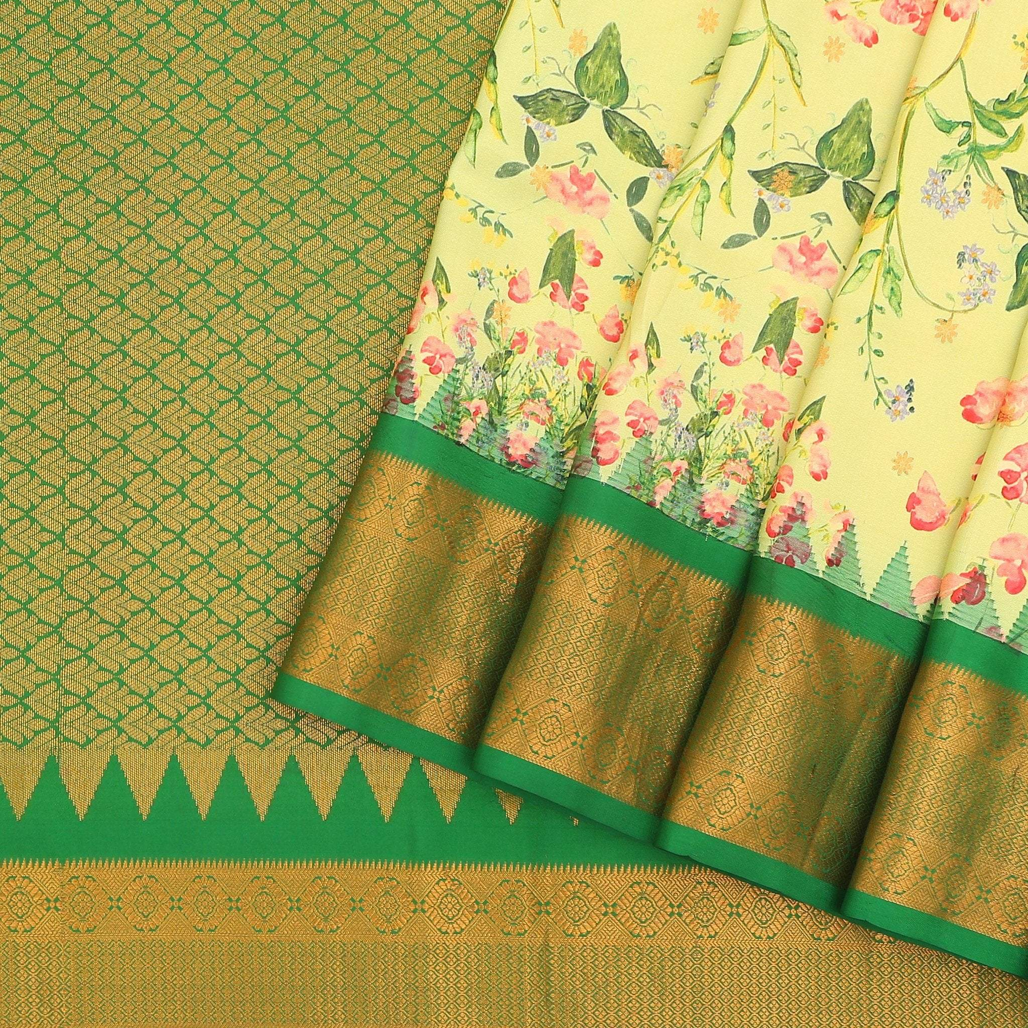 Lemon-Yellow-Dainty-Floral-Printed-Gadwal-Silk-Handloom-Saree