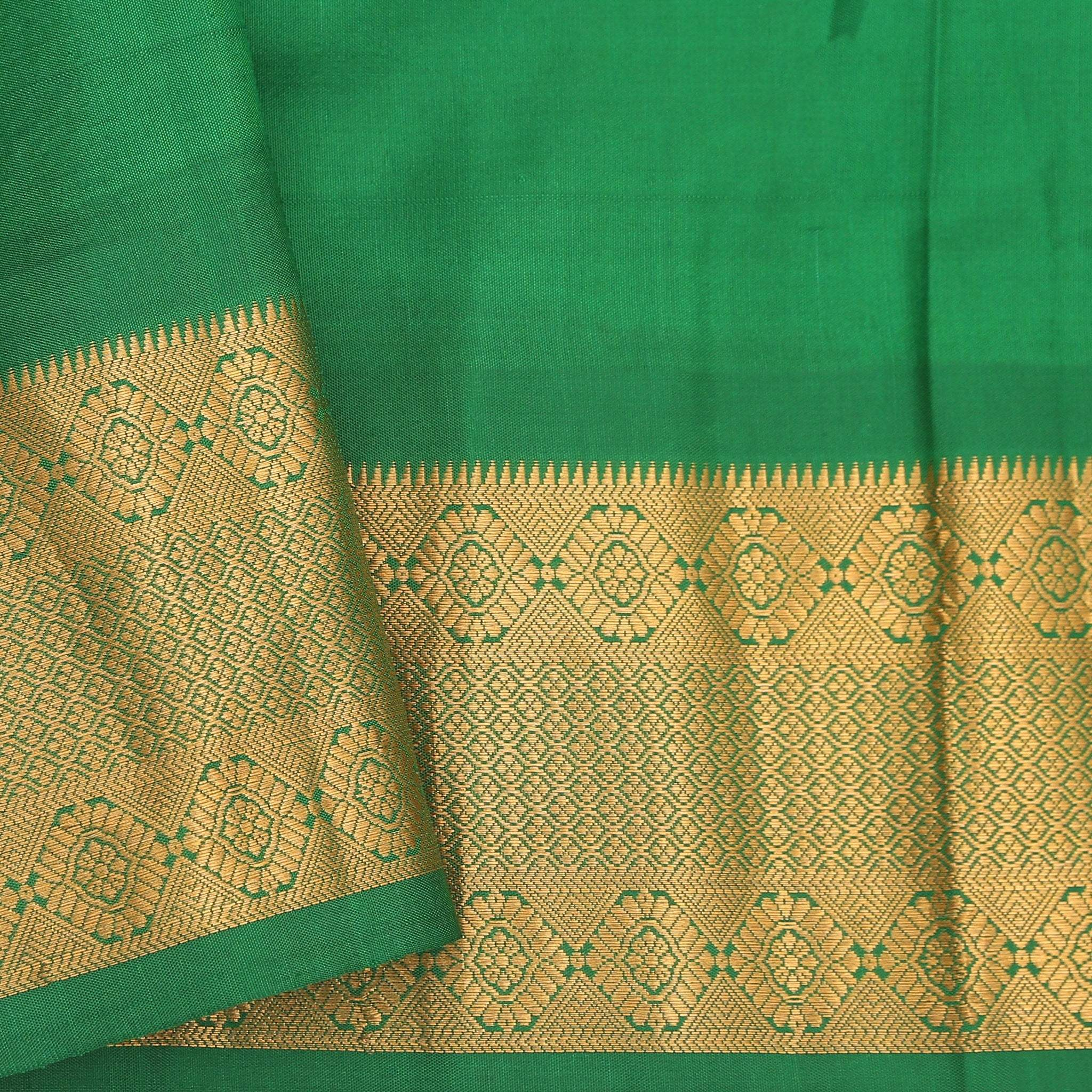 BB103426-Lemon Yellow Dainty Floral Printed Gadwal Silk Handloom Saree