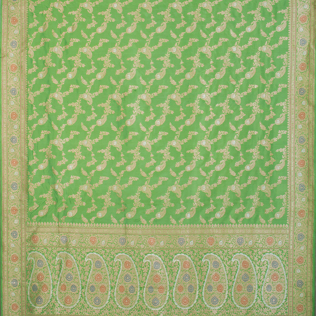 BB104284-Spring Green Banarasi Silk Handloom Saree