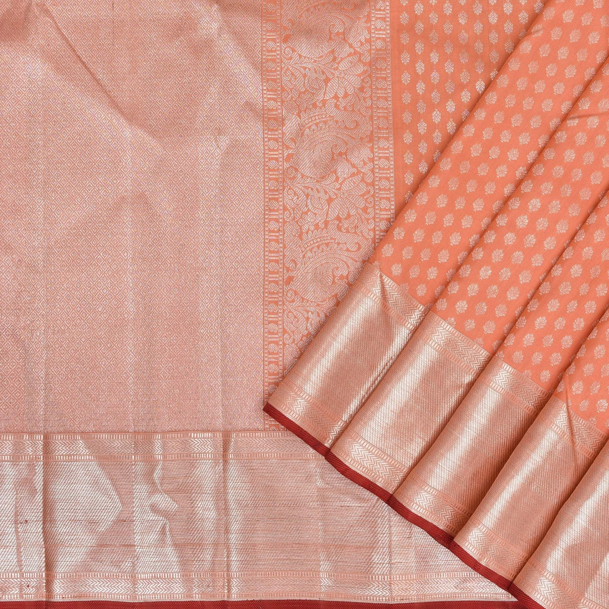 Cantaloupe-Orange-Handloom-Kanjivaram-Silk-Saree