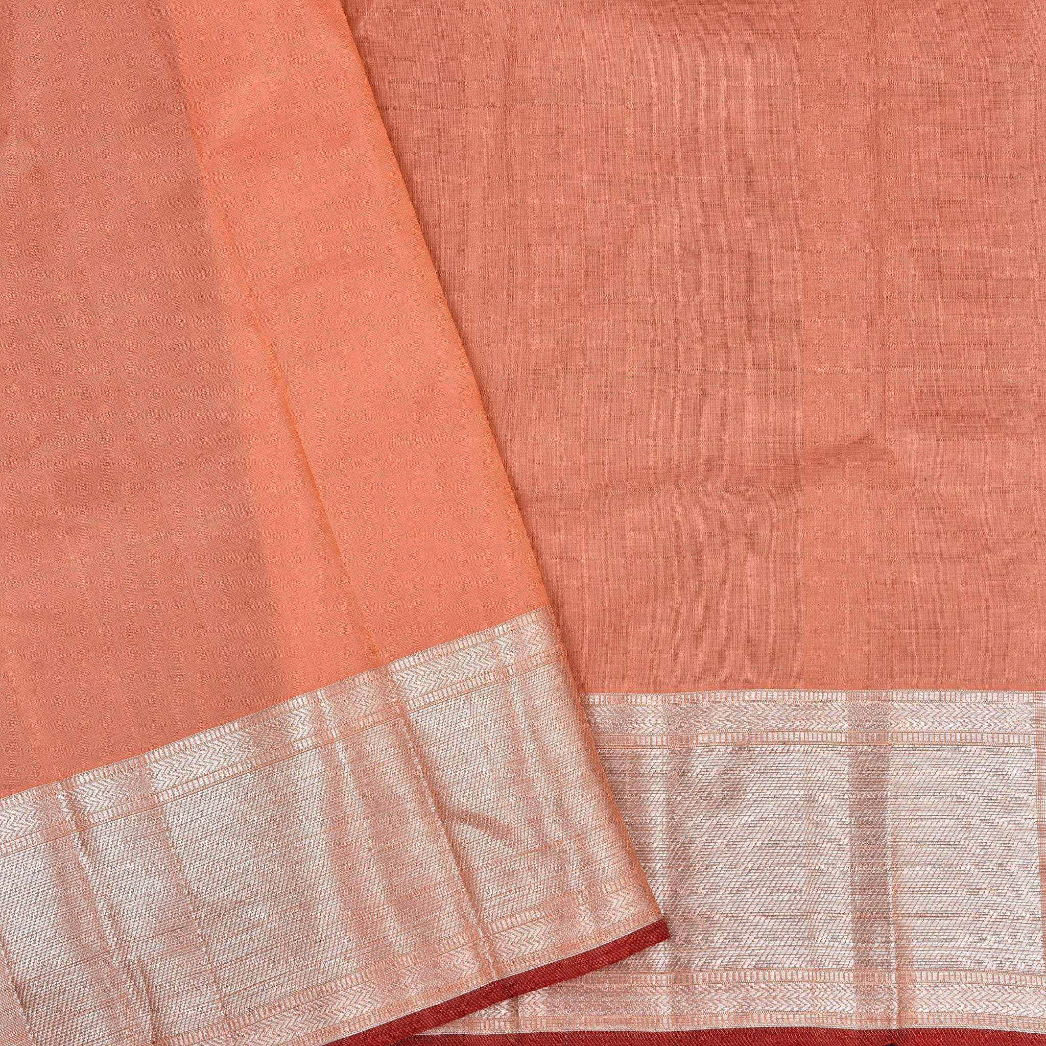 BB104325-Cantaloupe Orange Handloom Kanjivaram Silk Self Bordered Saree