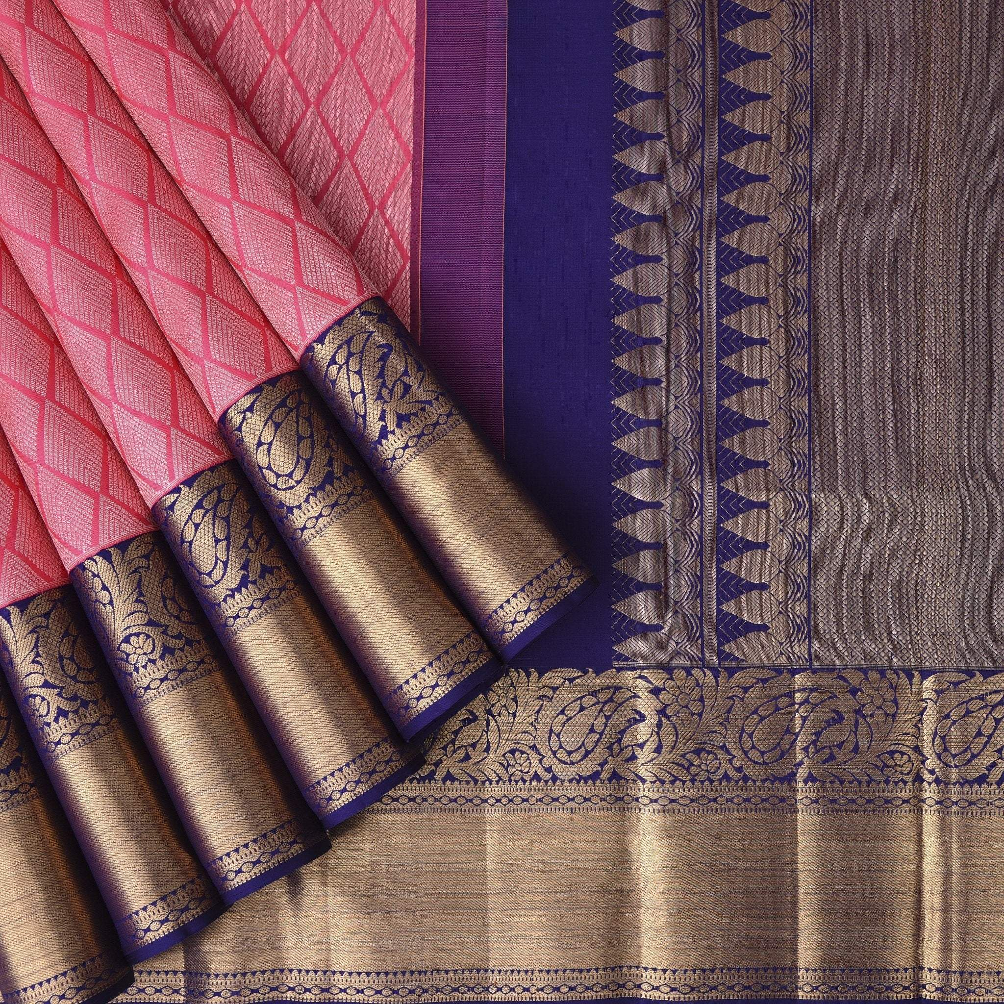 Punch-Pink-Kanjivaram-Silk-Handloom-Saree
