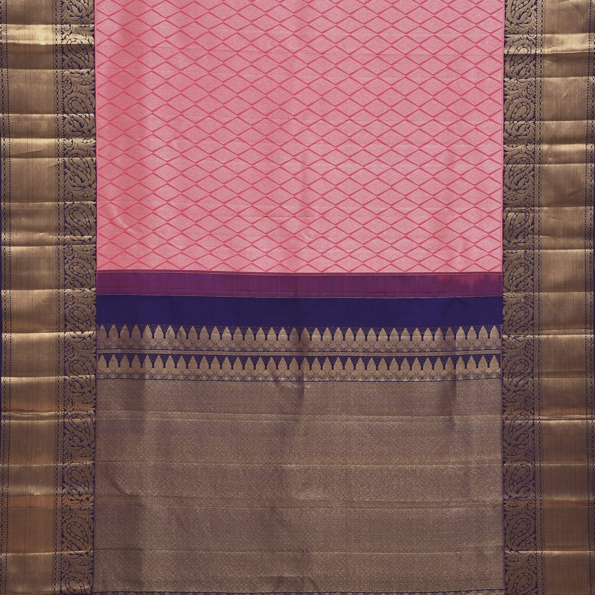 BB104872-Punch Pink Korvai Kanjivaram Silk Handloom Saree