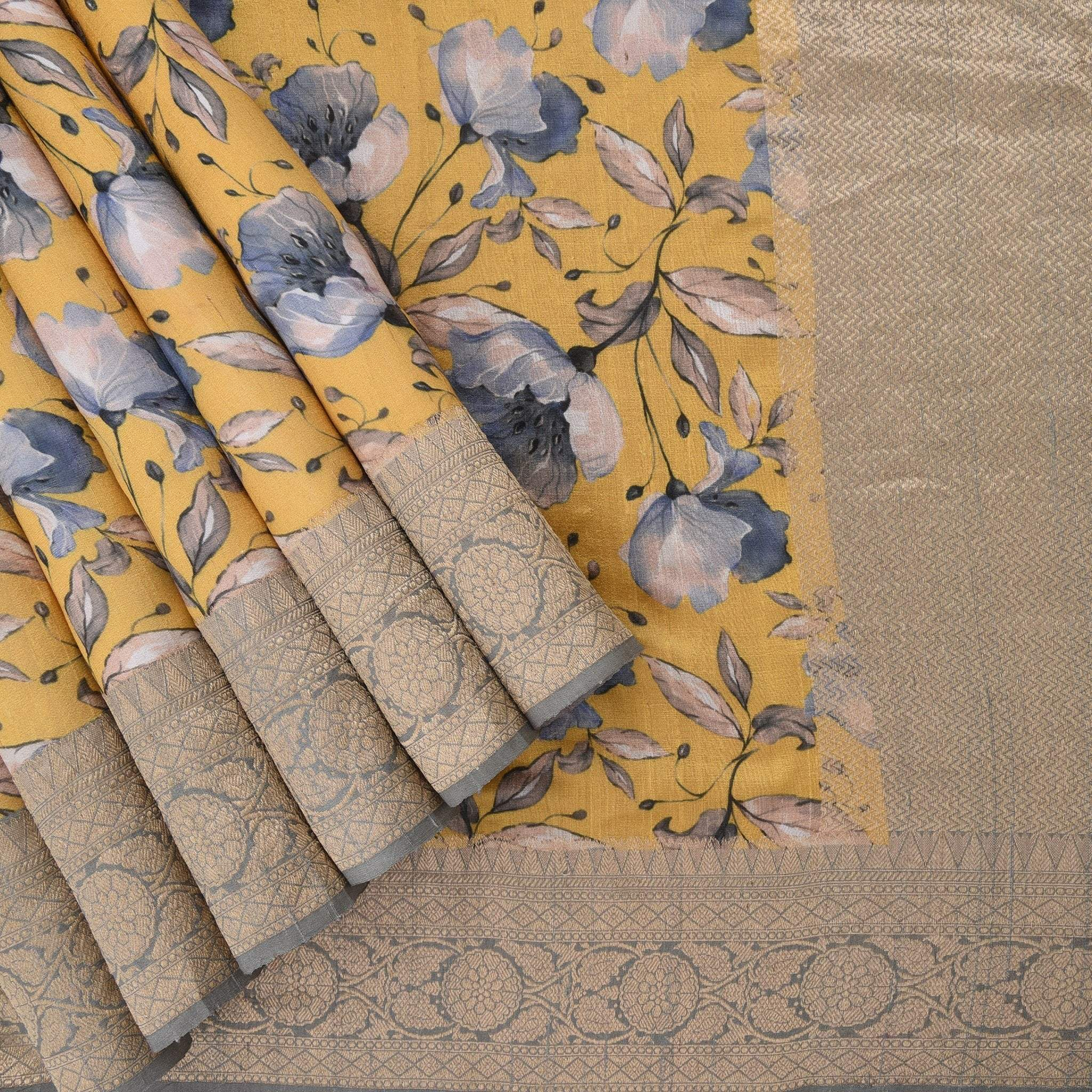 Canary-Yellow-Printed-Tussar-Handloom-Saree