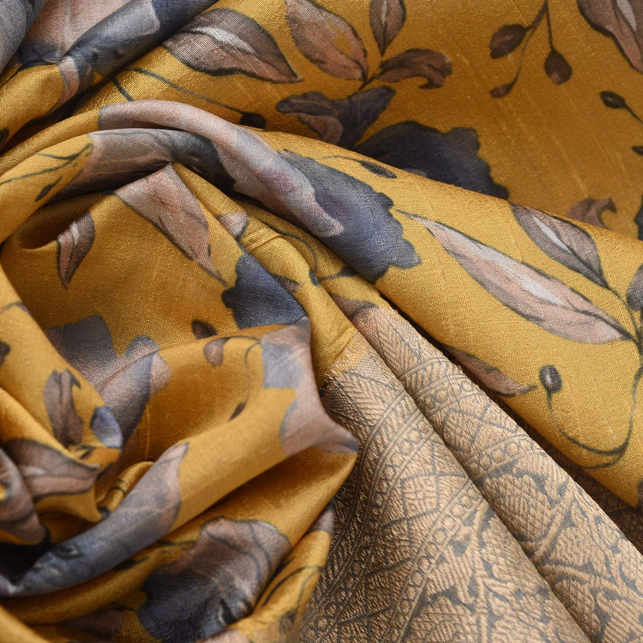 BB106539-Canary Yellow Printed Tussar Handloom Saree