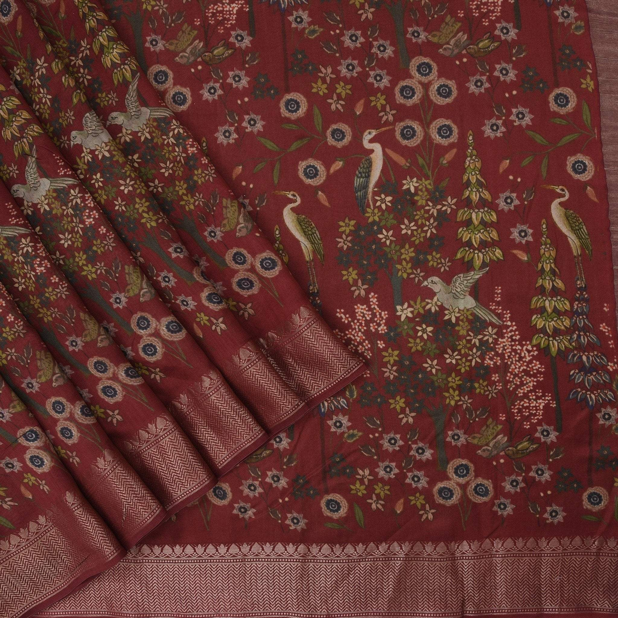 Brick-Red-Printed-Tussar-Handloom-Saree