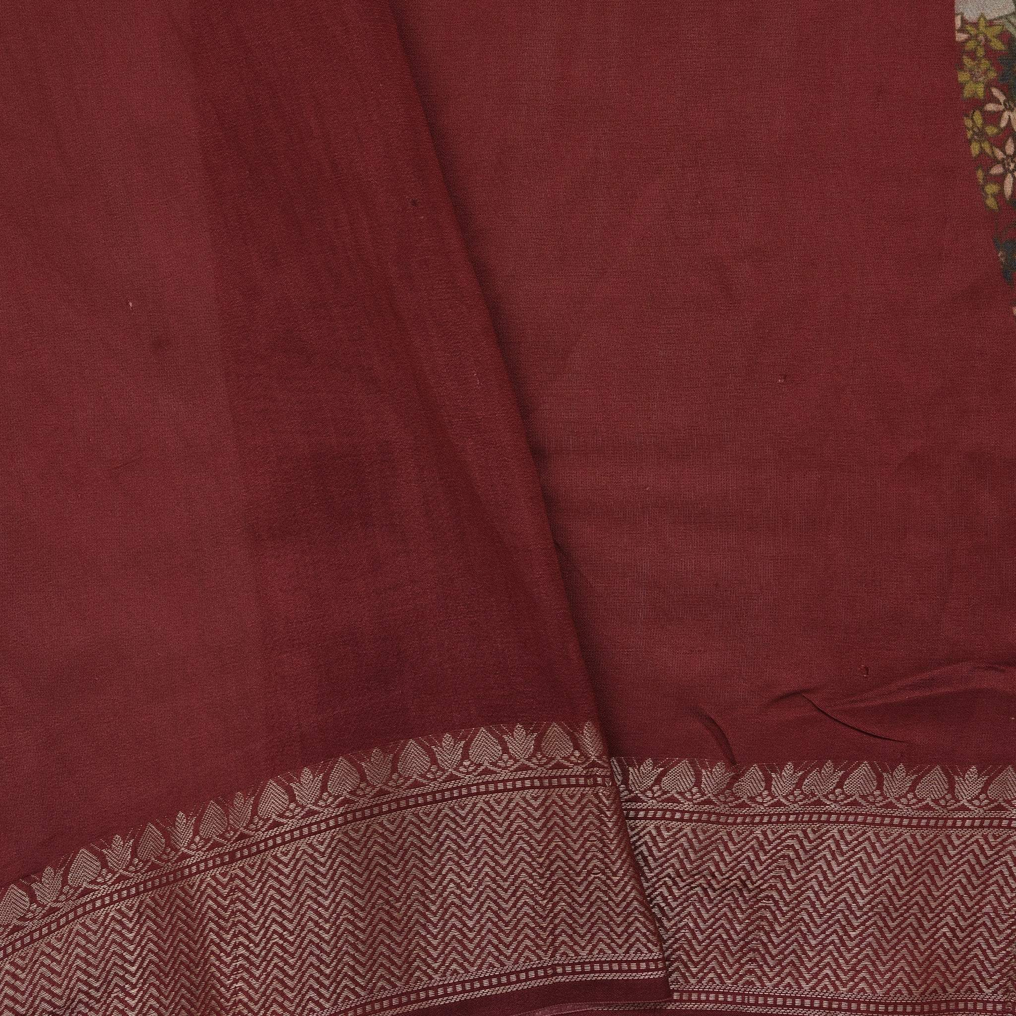 BB106629-Brick Red Printed Tussar Handloom Saree