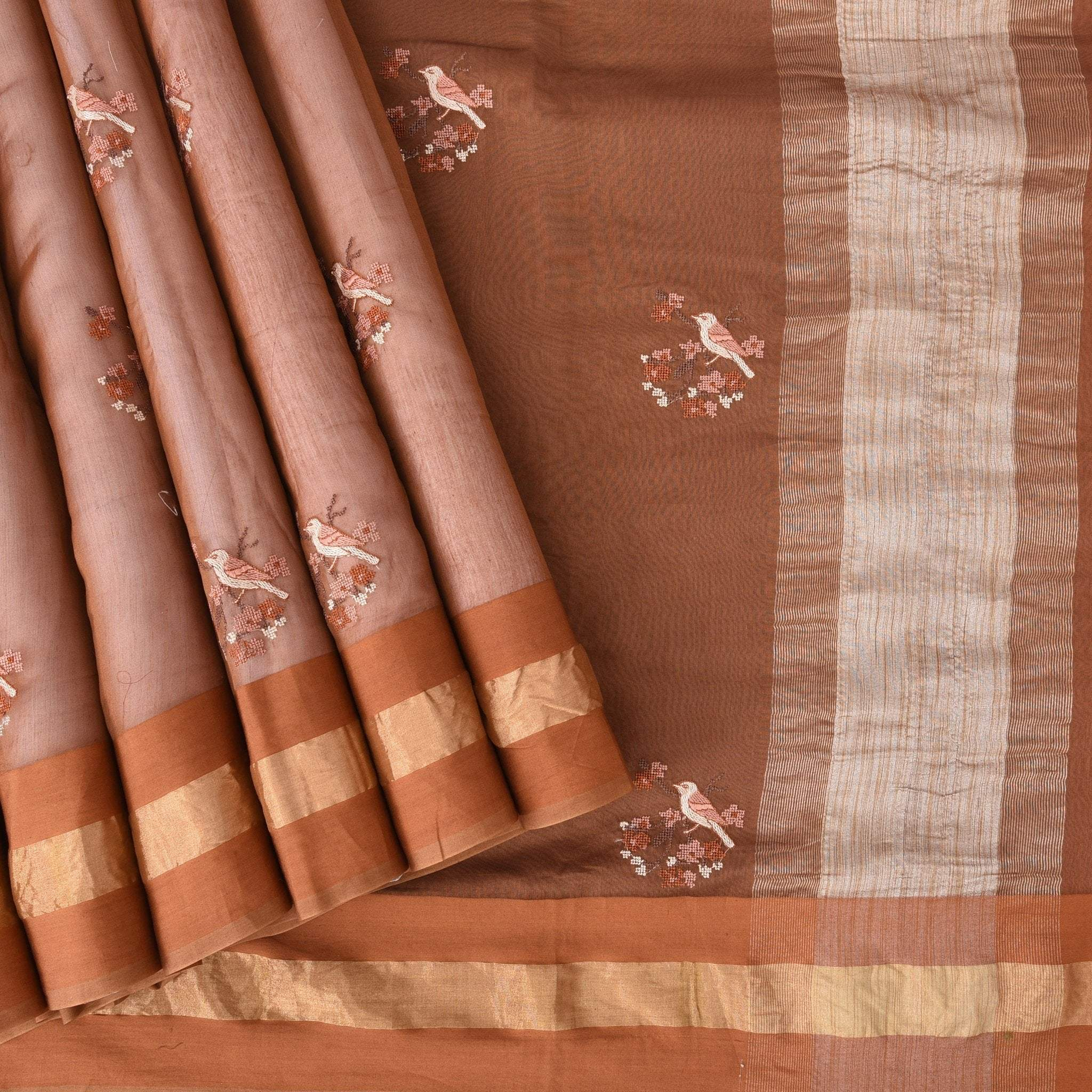 Straw-Brown-Chanderi-Embroidery-Handloom-Saree