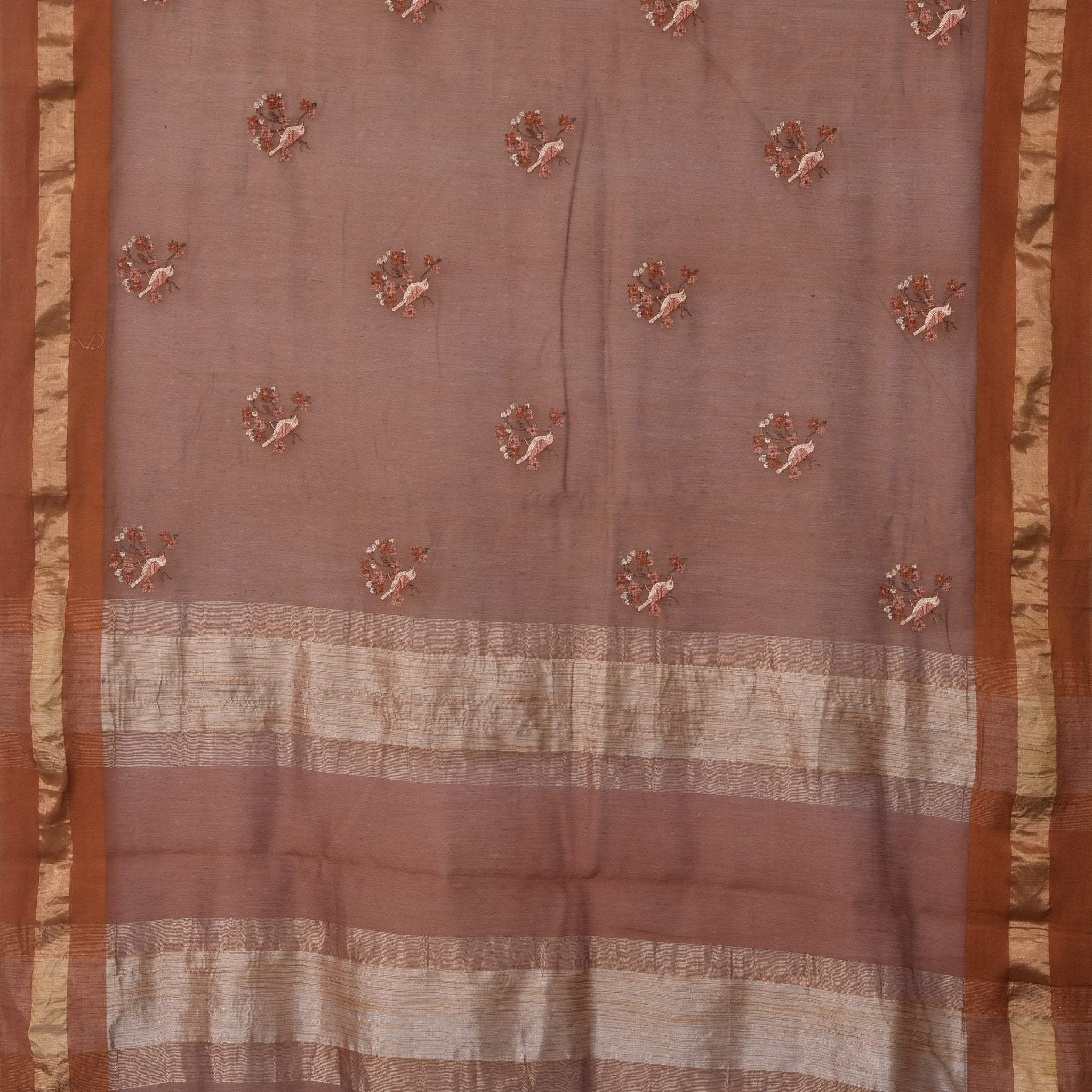 BB106907-Straw Brown Chanderi Embroidery Handloom Saree