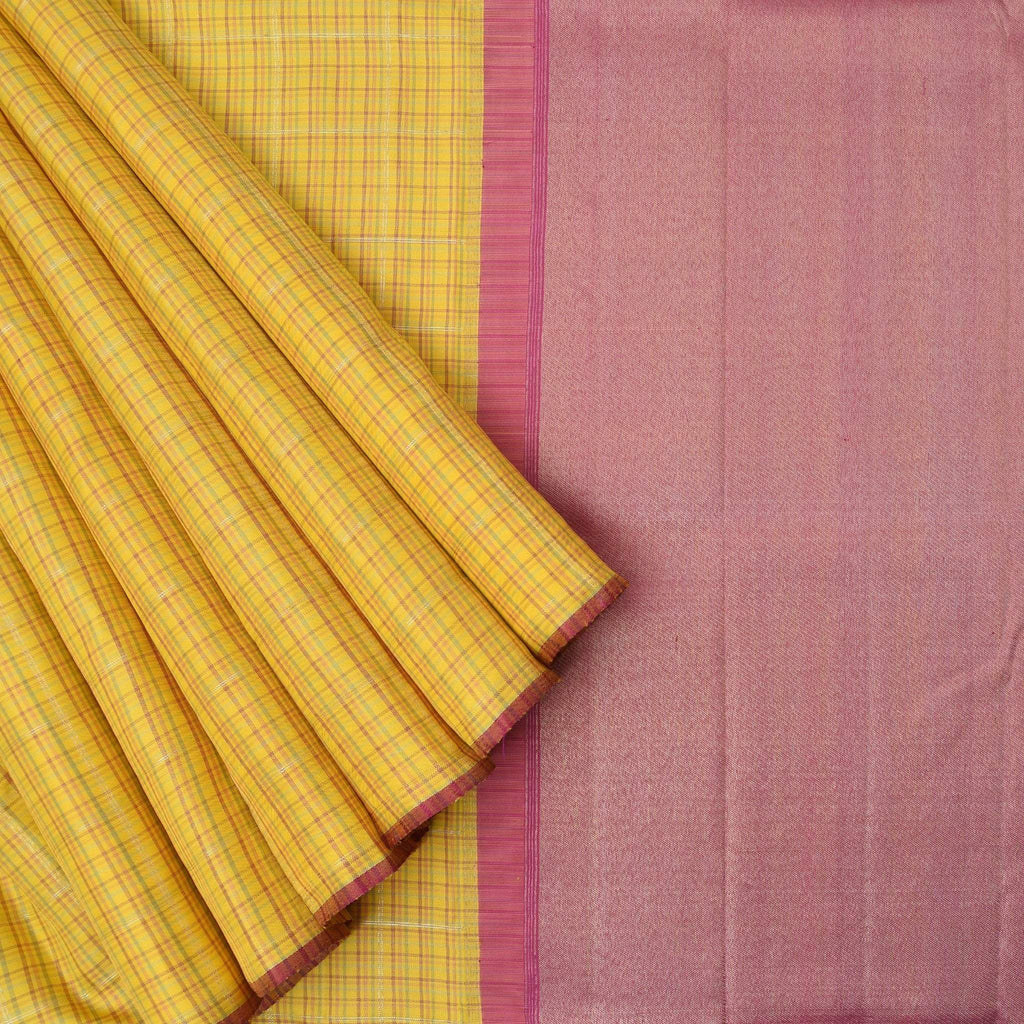 Daffodil-Yellow-Kanjivaram-Silk-Handloom-Saree