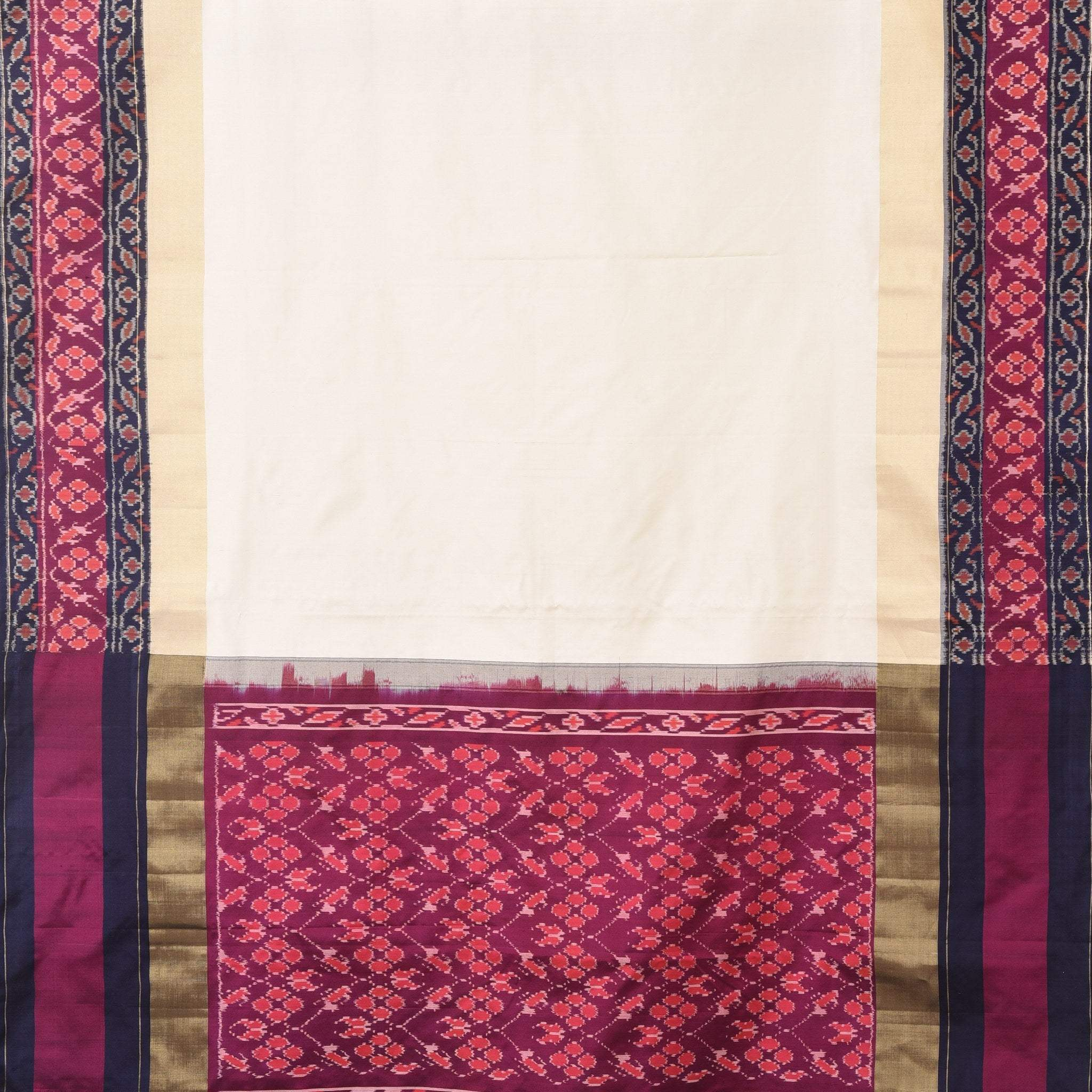 BB107950-Vanilla White Kanjivaram Silk Handloom Saree