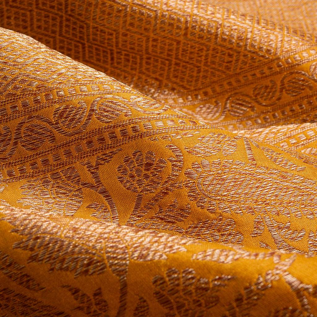 BB110009-Mustard Yellow Banarasi Katan Silk Handloom Saree