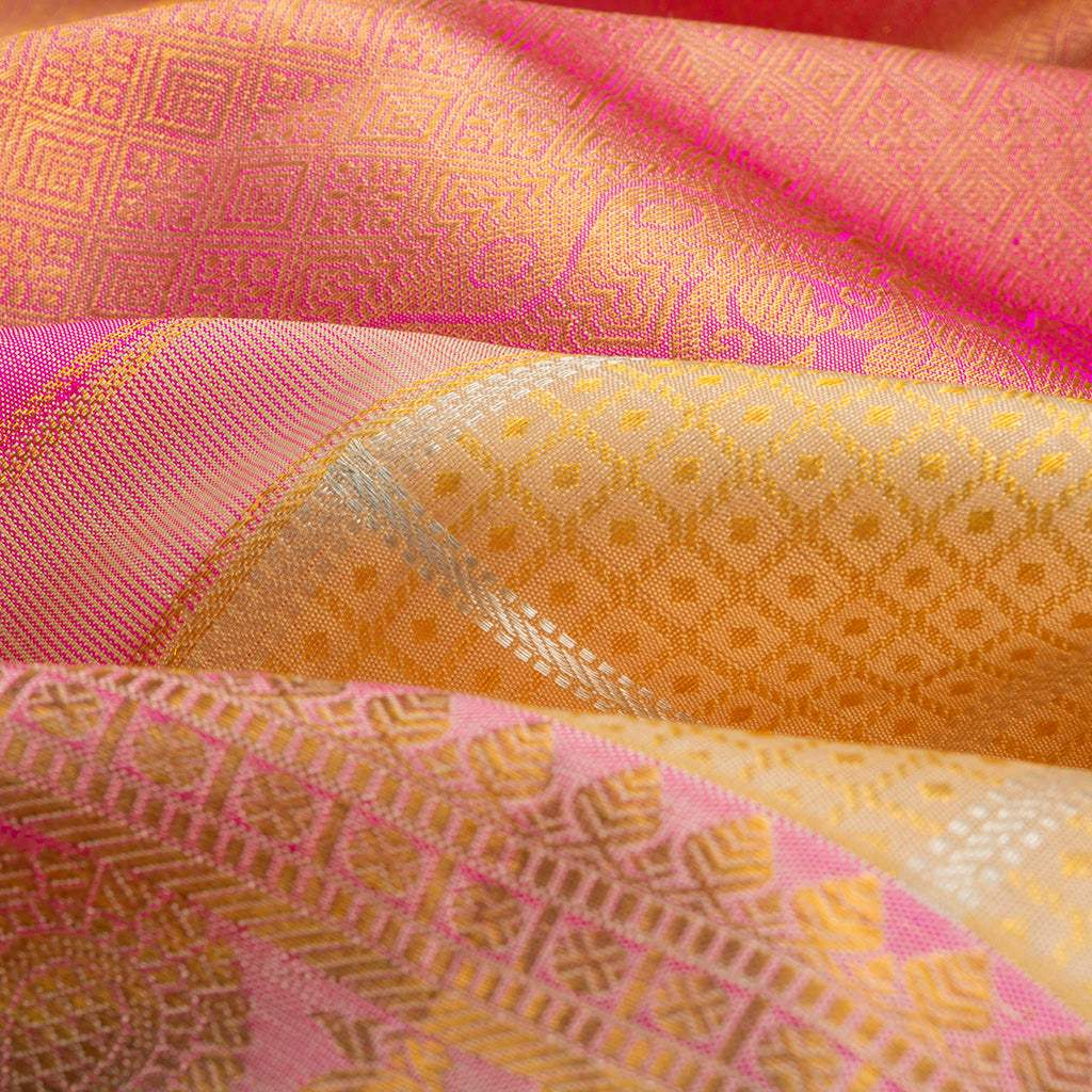 Daffodil Yellow Checkered Kanjivaram Silk Handloom Saree