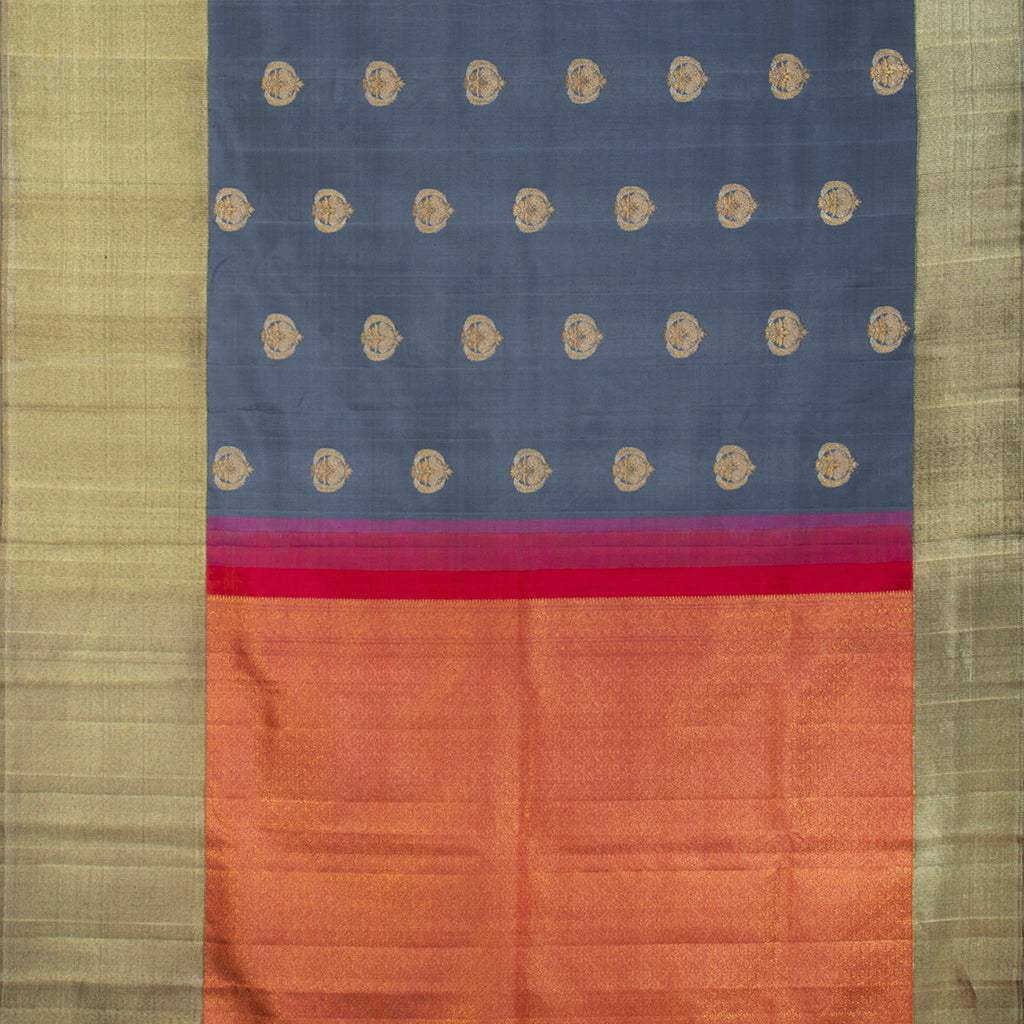BB111397-Deep Grey Korvai Kanjivaram Silk Handloom Saree