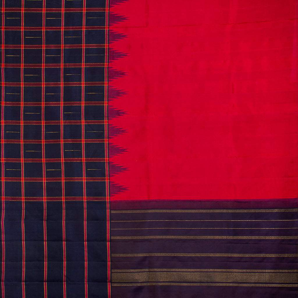 Cherry Red Kanjivaram Silk Handloom Saree With Big Border