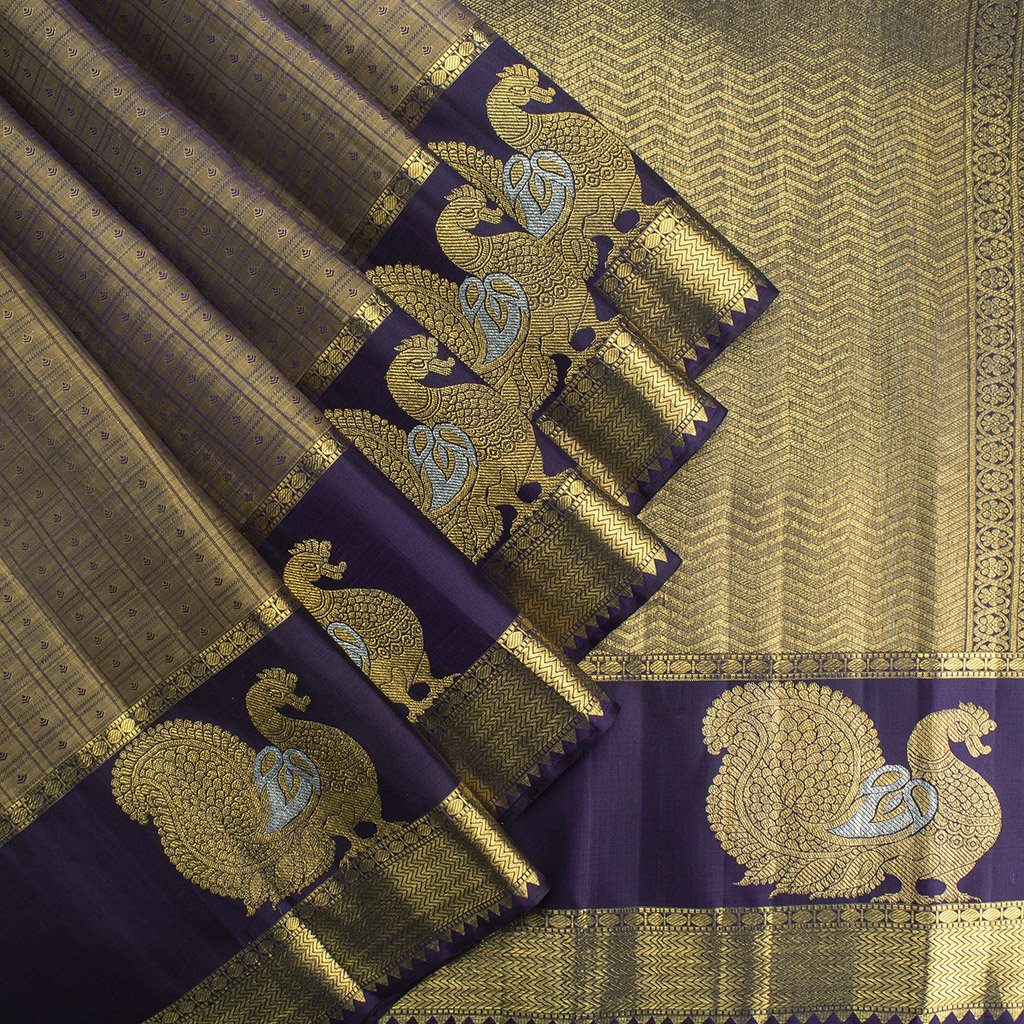 Gold-Kanjivaram-Silk-Handloom-Saree-With-Selfcolor-Border
