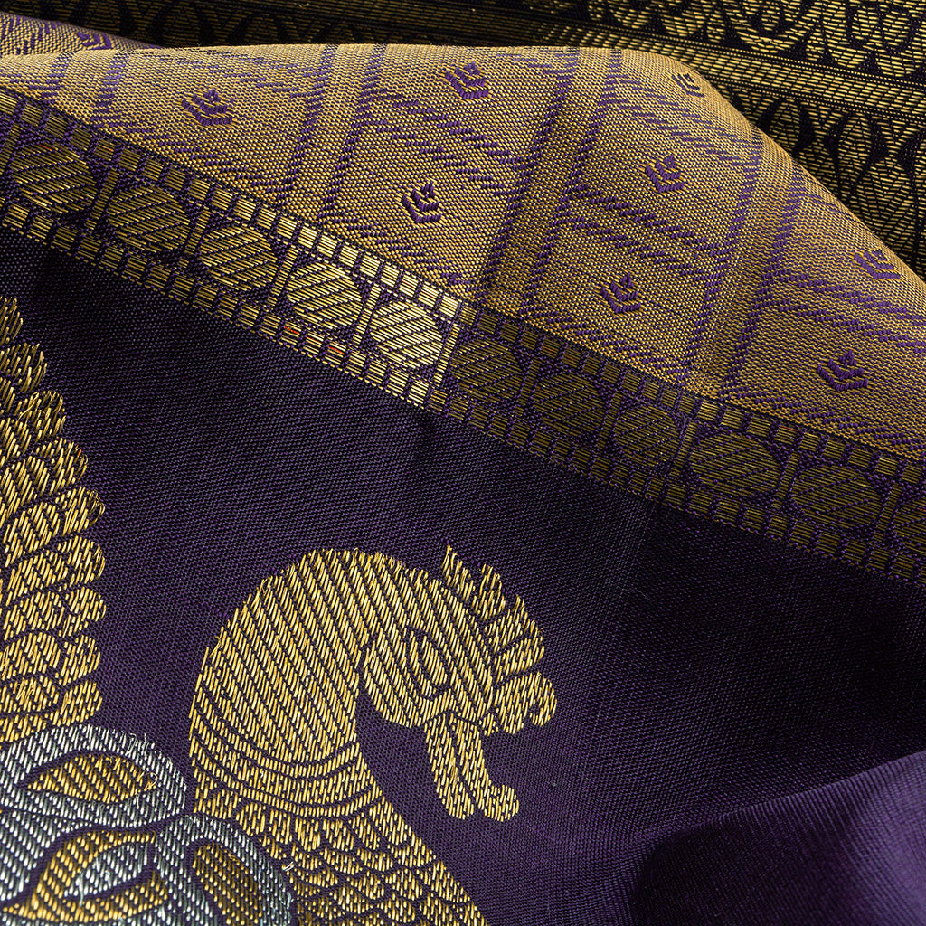 BB111411-Gold Kanjivaram Silk Handloom Saree With Selfcolor Border