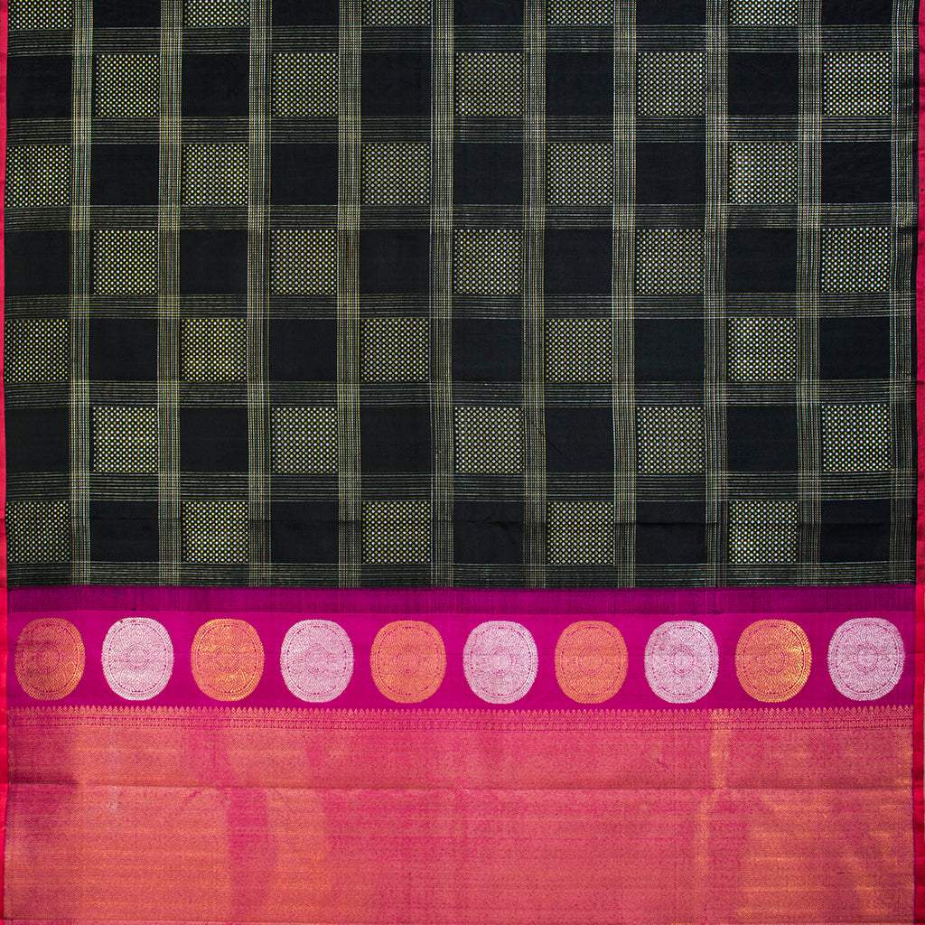 BB111424-Black Borderless Kanjivaram Silk Handloom Saree