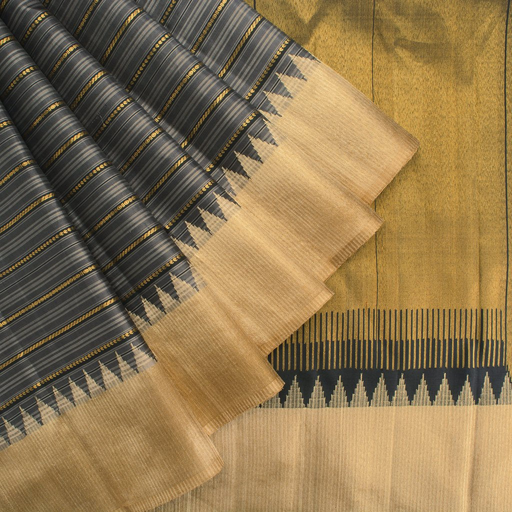 buy Shades Of Grey Gadwal Silk Handloom Saree Online