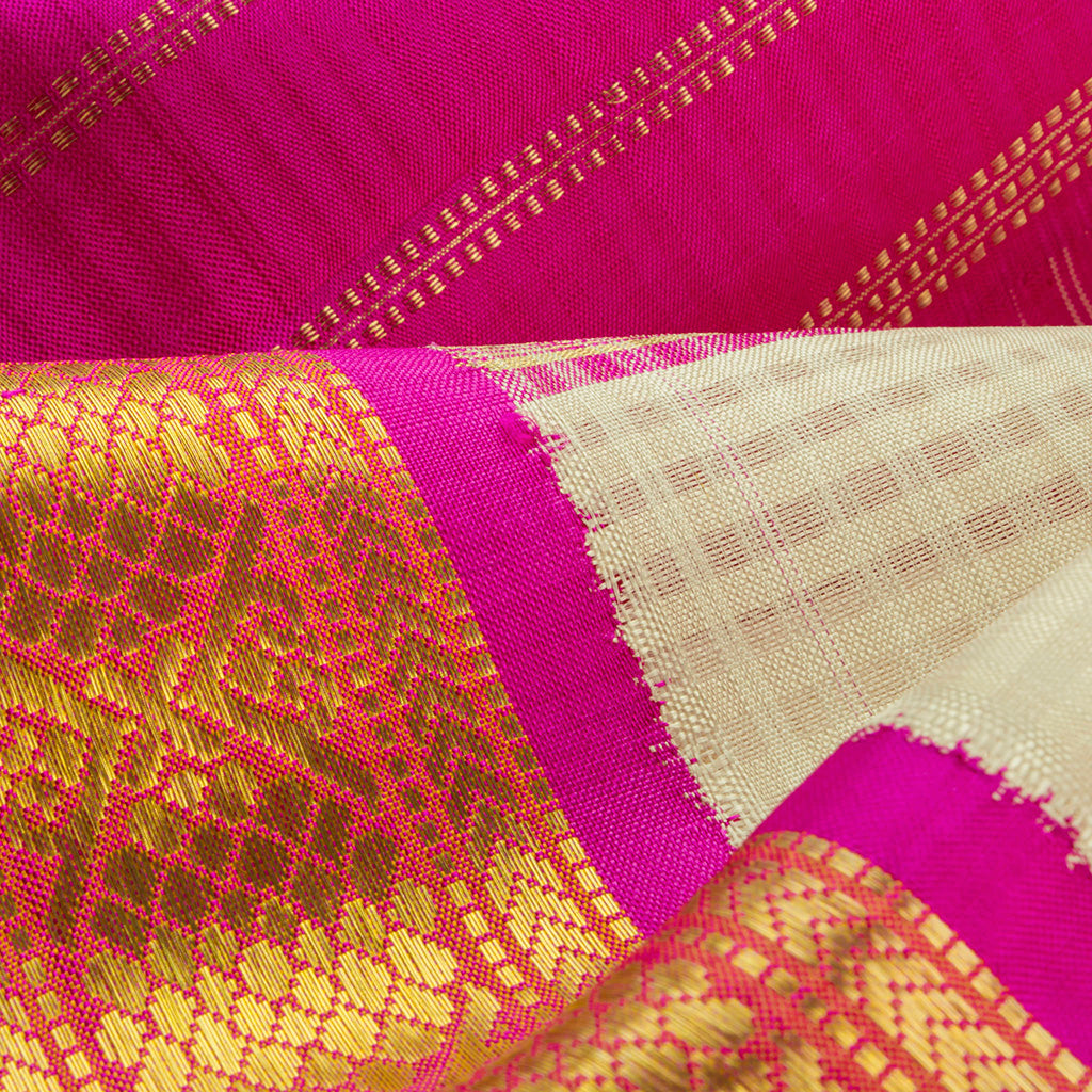 White Korvai Checkered Kanjivaram Silk Handloom Saree